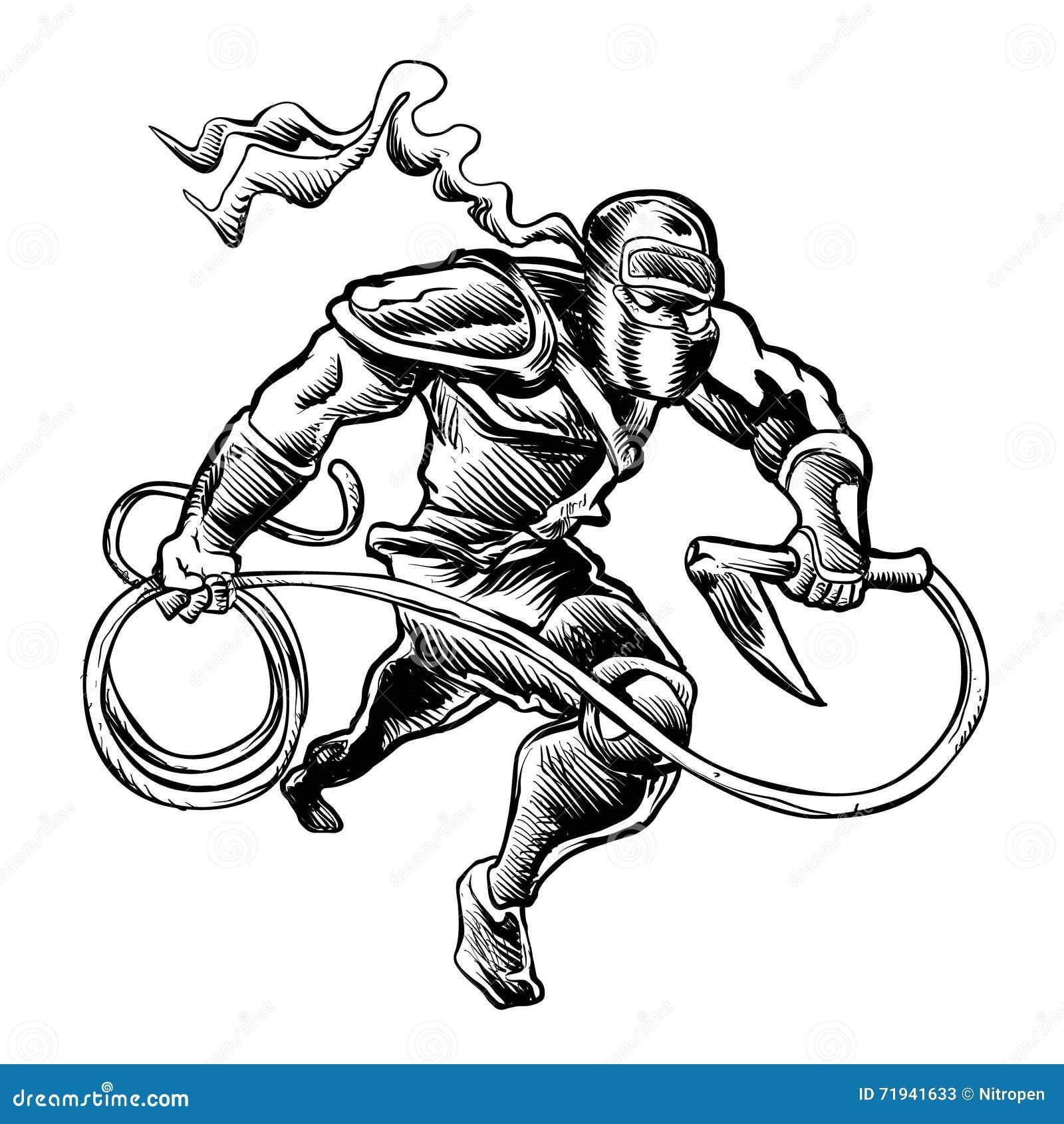 Иллюстрация нарисованная рукой схематичная ninja