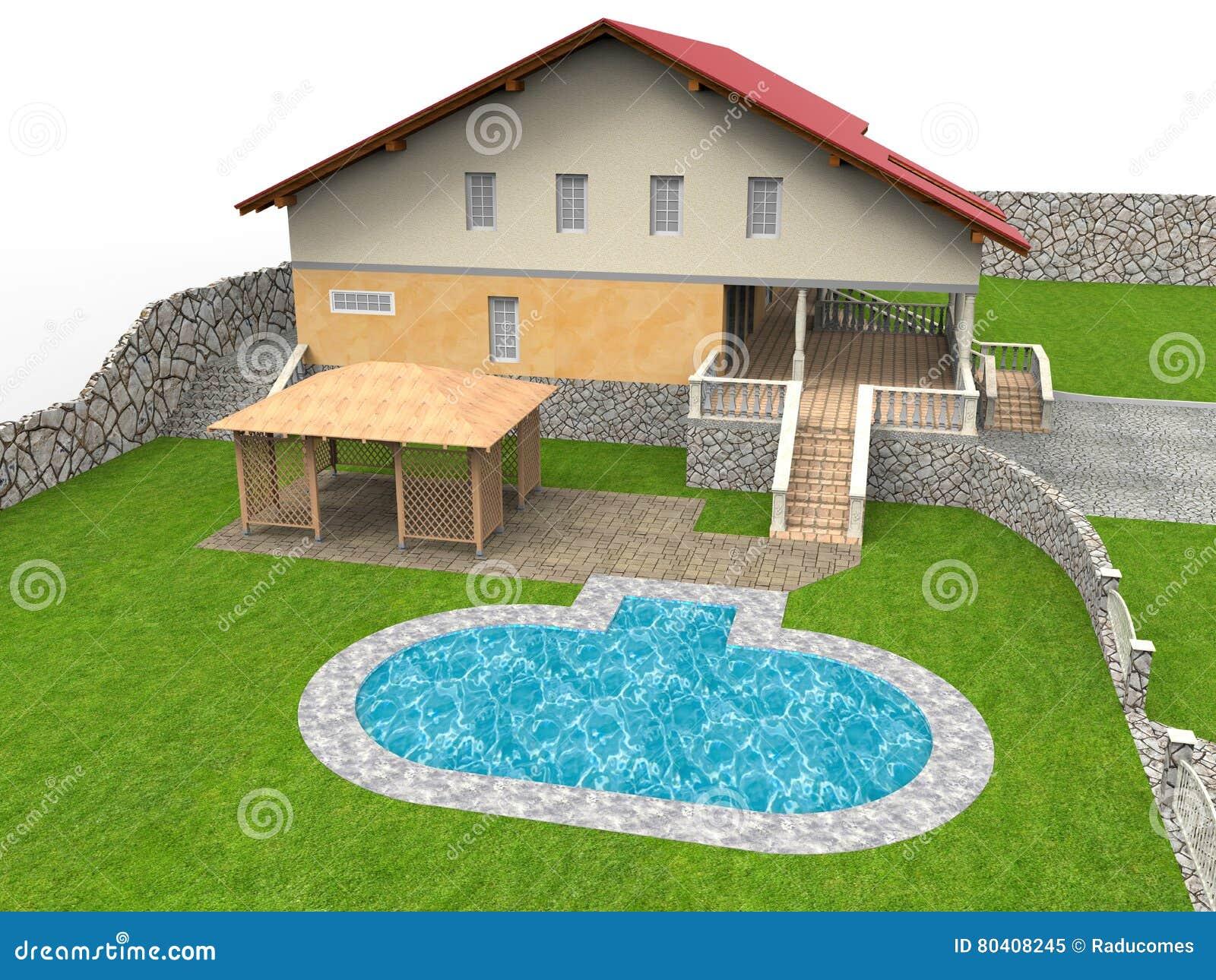Иллюстрация дома бассейна задворк
