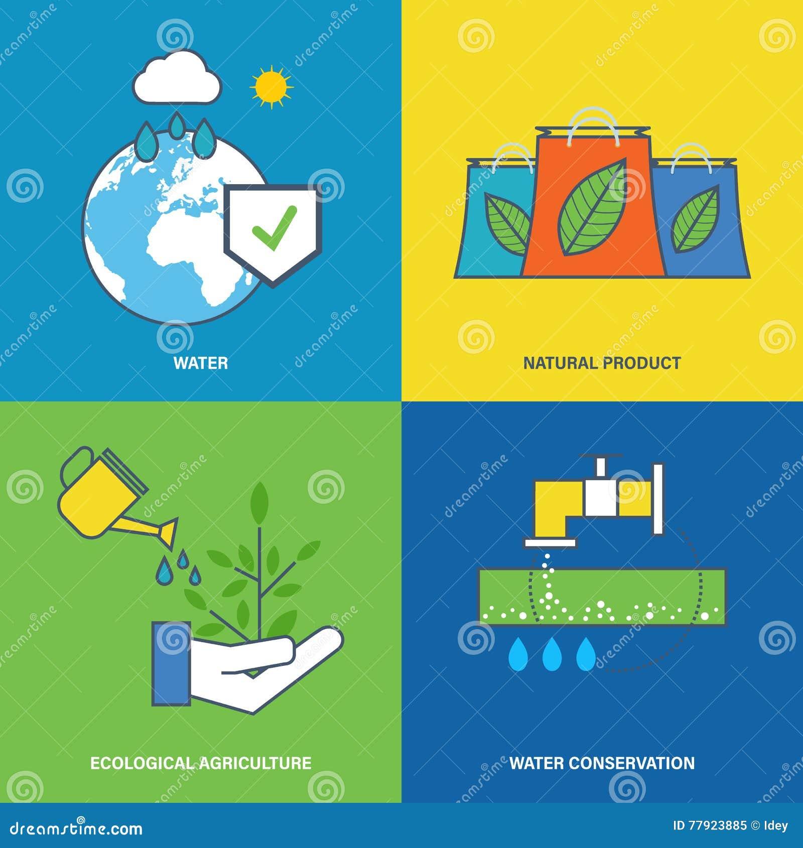 Иллюстрация о охране окружающей среды, консервации природных ресурсов воды