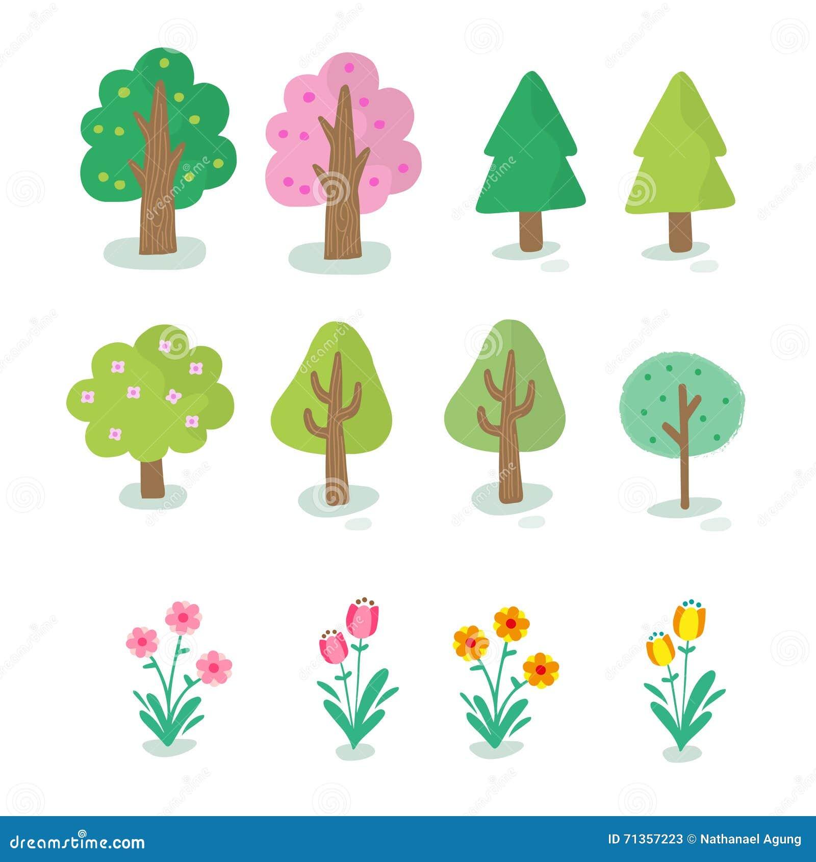 Иллюстрация различного вида дерева