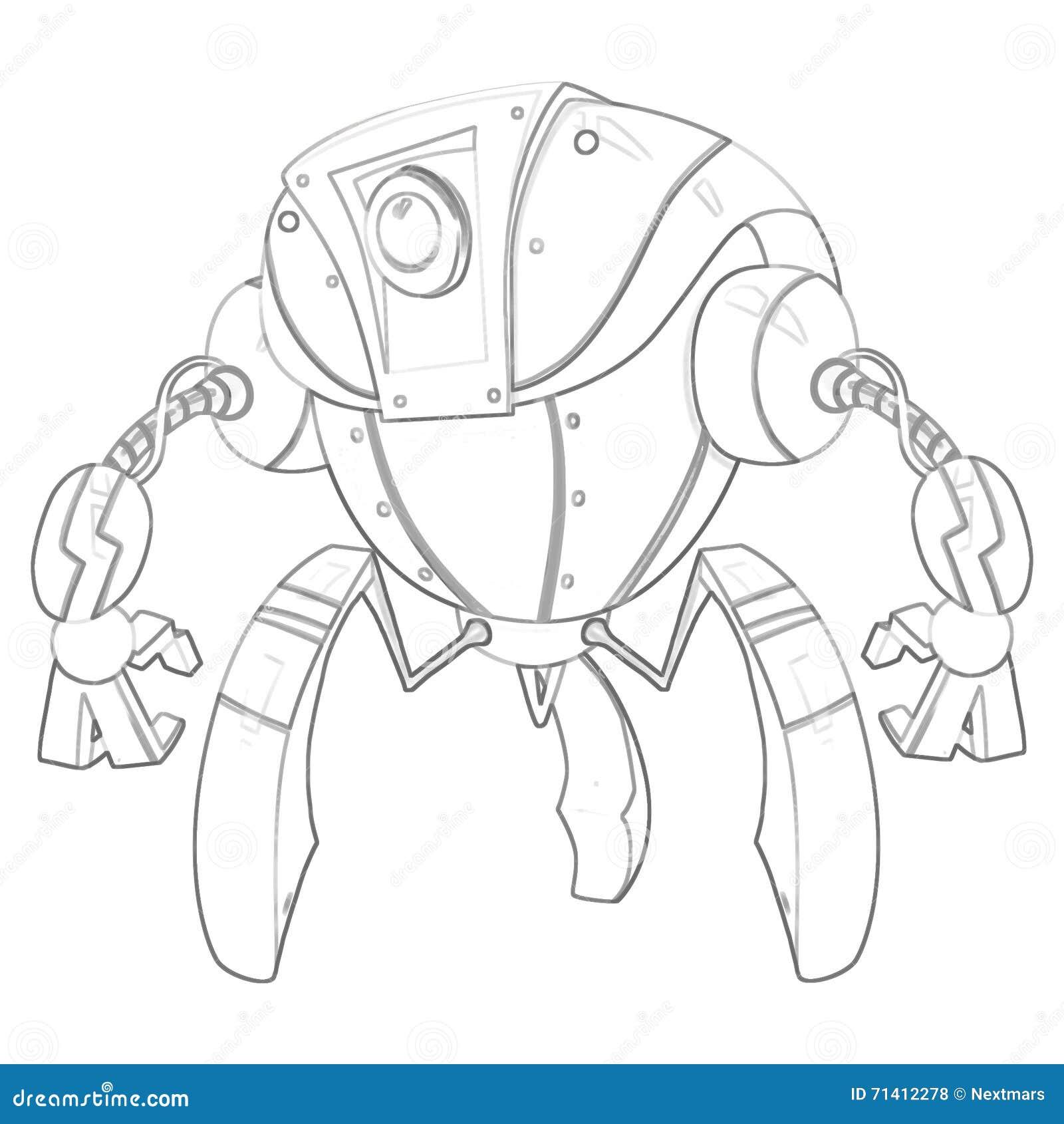 иллюстрация серия книжка раскраски робот мягкая тонкая