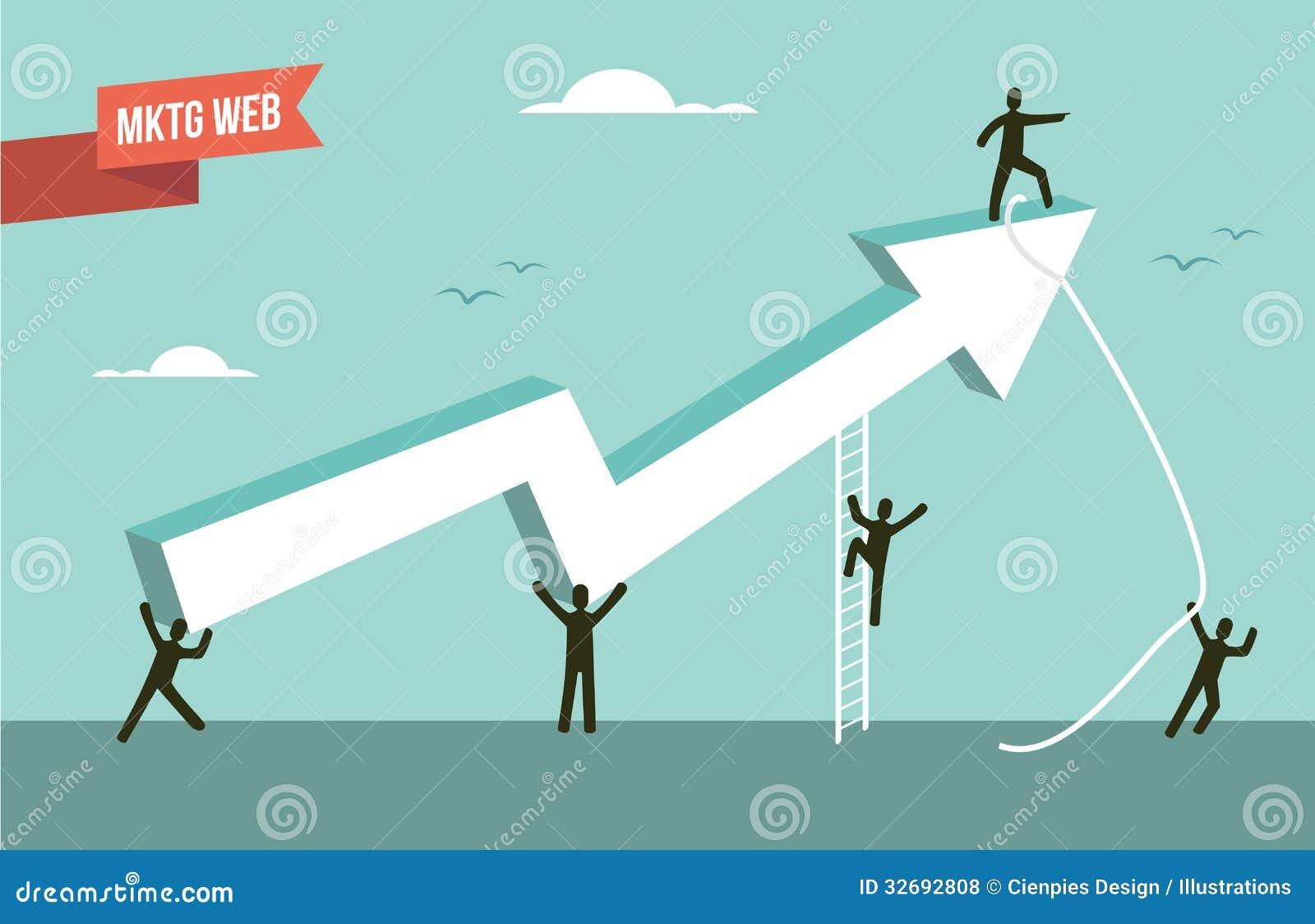 Иллюстрация стрелки диаграммы стратегии сеты маркетинга