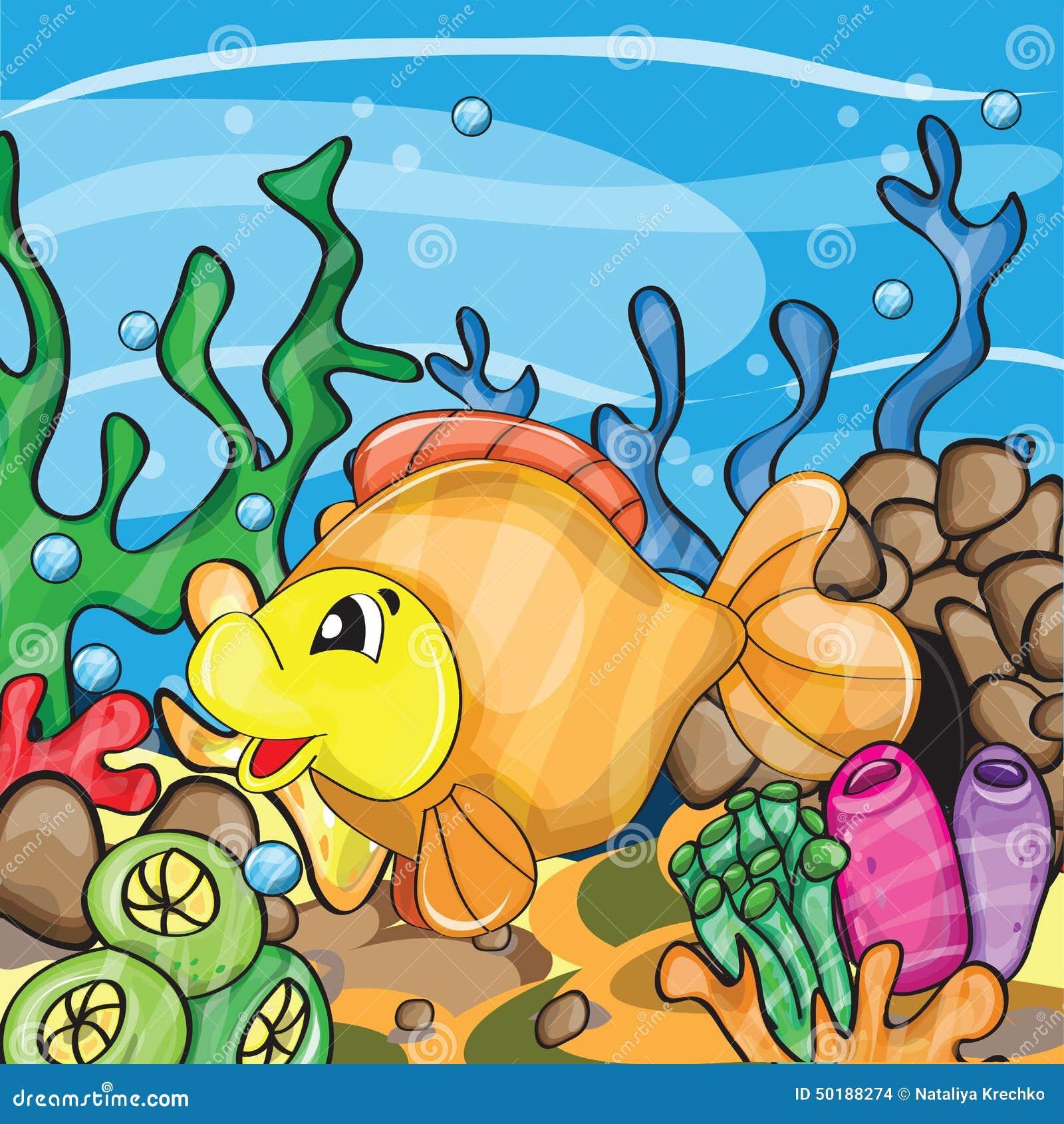 Иллюстрация счастливой рыбки