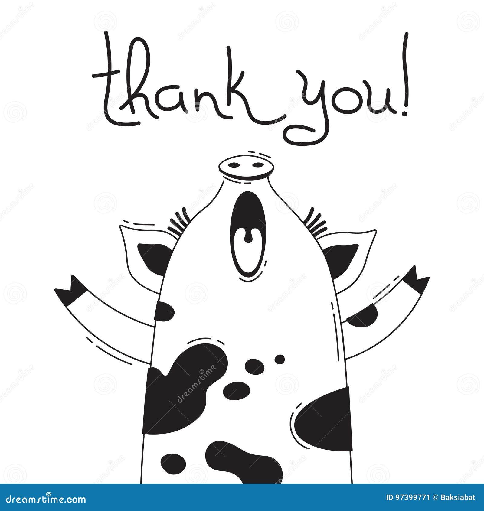 Иллюстрация с радостное piggy кто говорит - спасибо Для дизайна смешных воплощений, плакатов и карточек животное милое