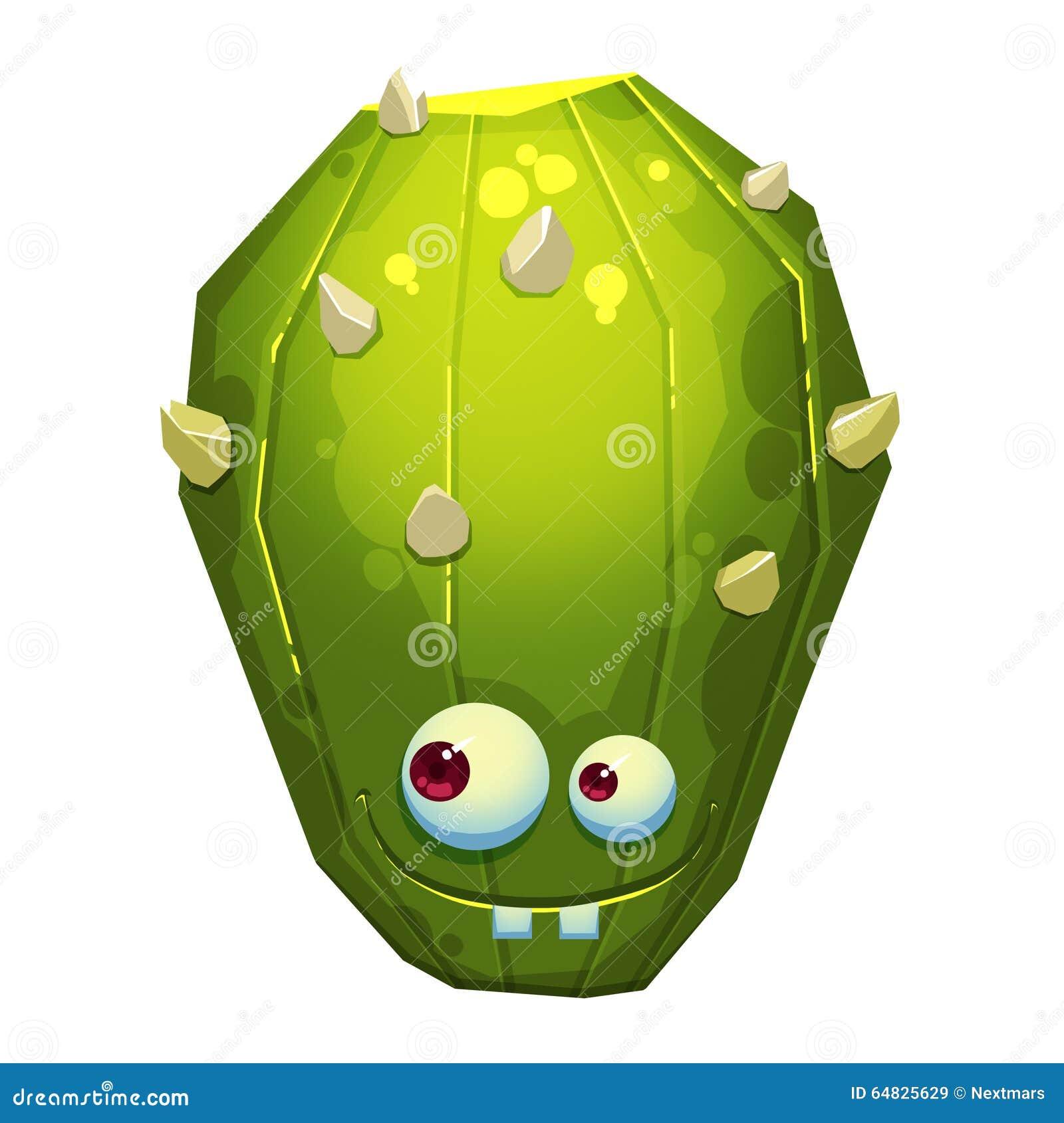Иллюстрация: Фантастический изверг кактуса зеленого цвета леса изолированный на белой предпосылке реалистическо