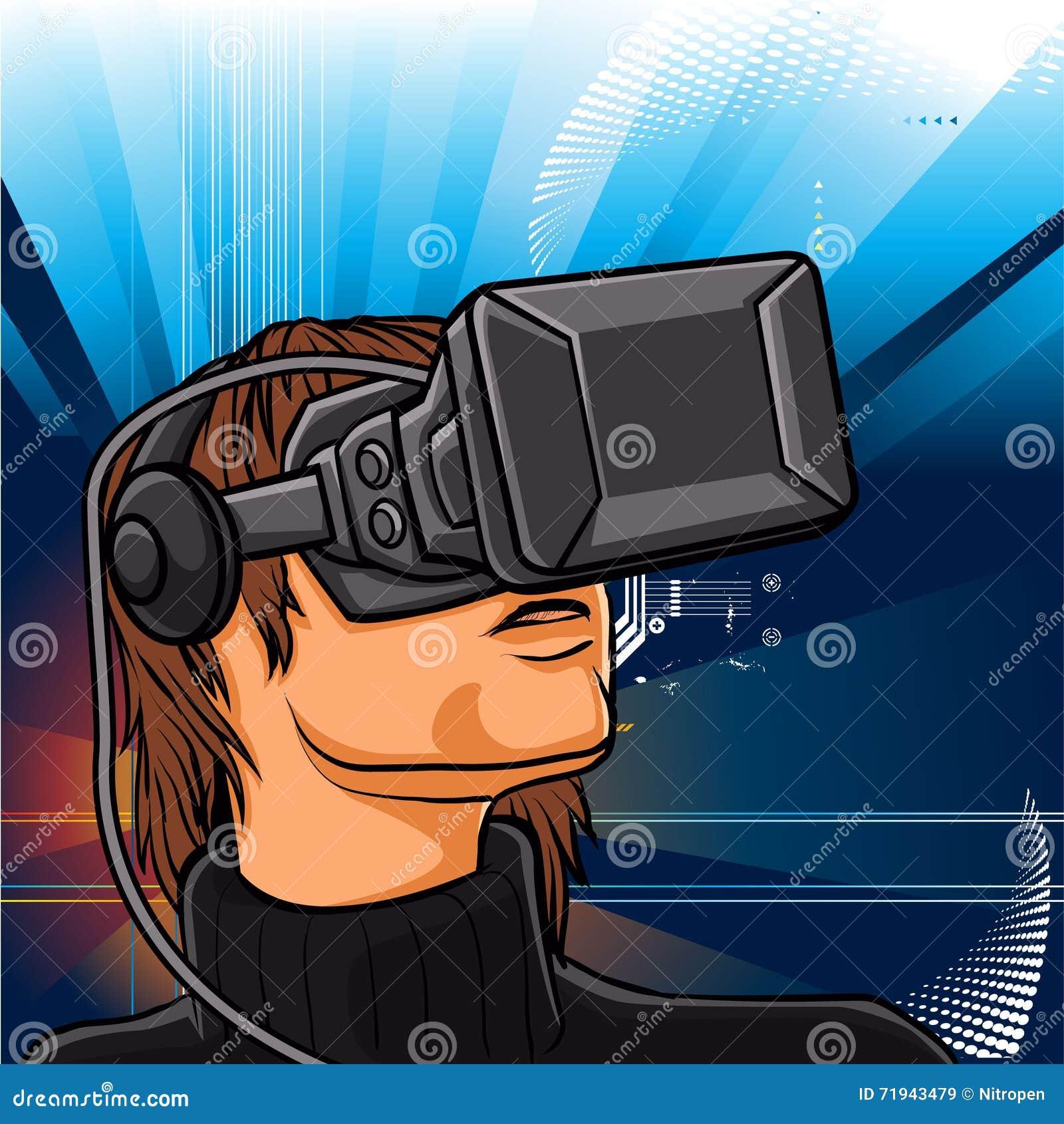 Иллюстрация человека с стеклами шлемофона