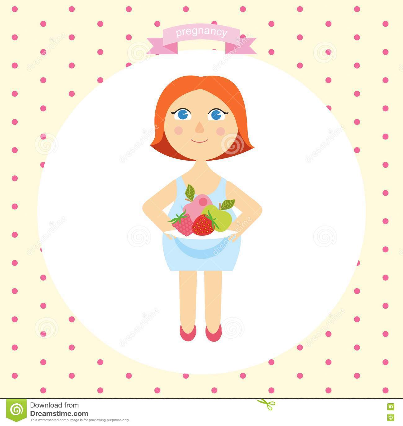 Иллюстрация шаржа беременной женщины с плитой свежих фруктов concept healthy lifestyle серия беременности