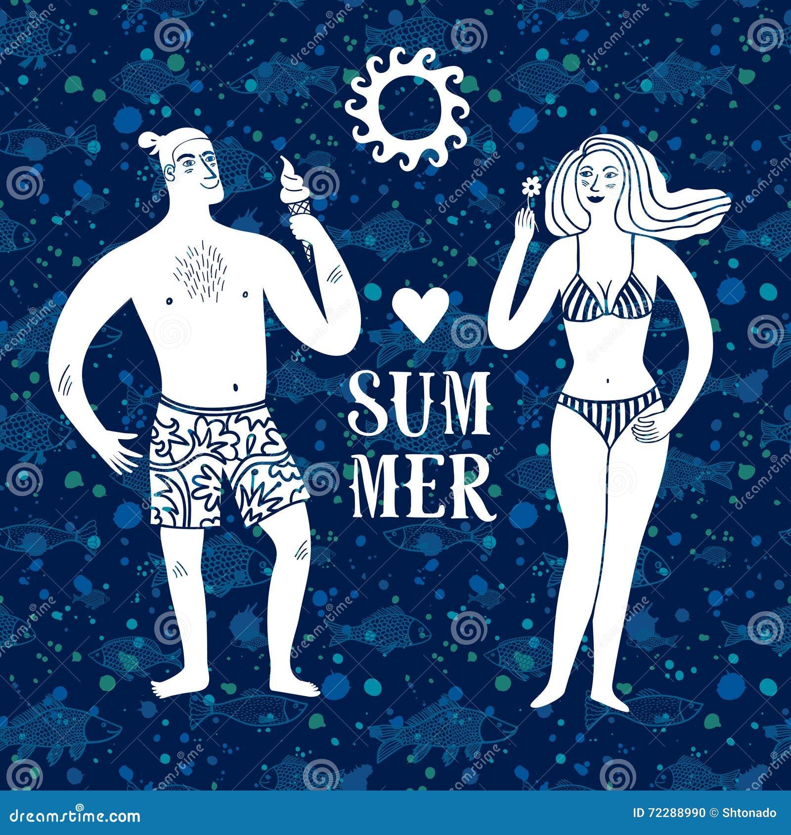 Download Иллюстрация шаржа моря с человеком и женщиной на каникулах Иллюстрация вектора - иллюстрации насчитывающей волосы, шлем: 72288990