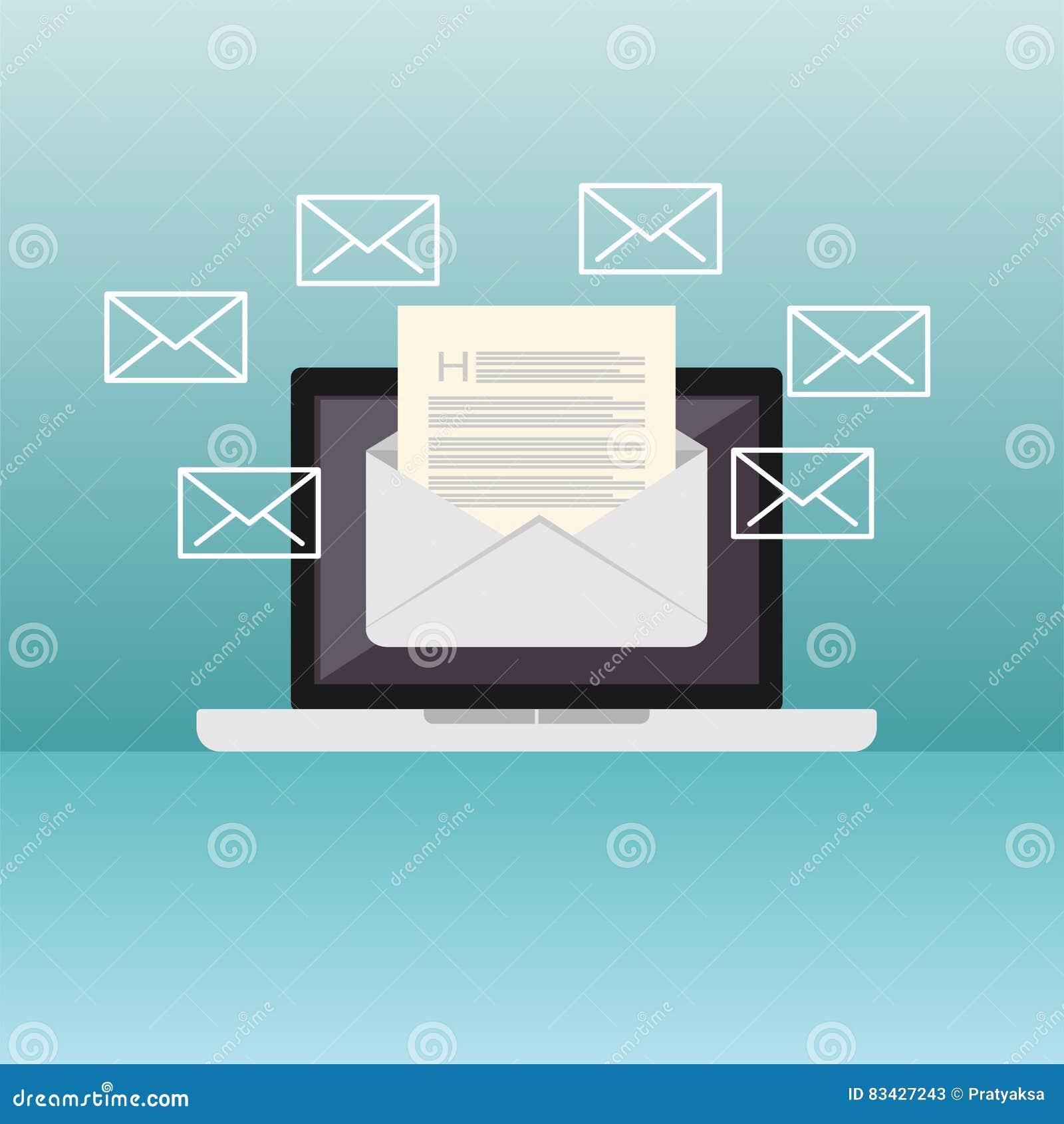 Иллюстрация электронной почты Посылающ или получающ иллюстрацию концепции электронной почты Плоский дизайн