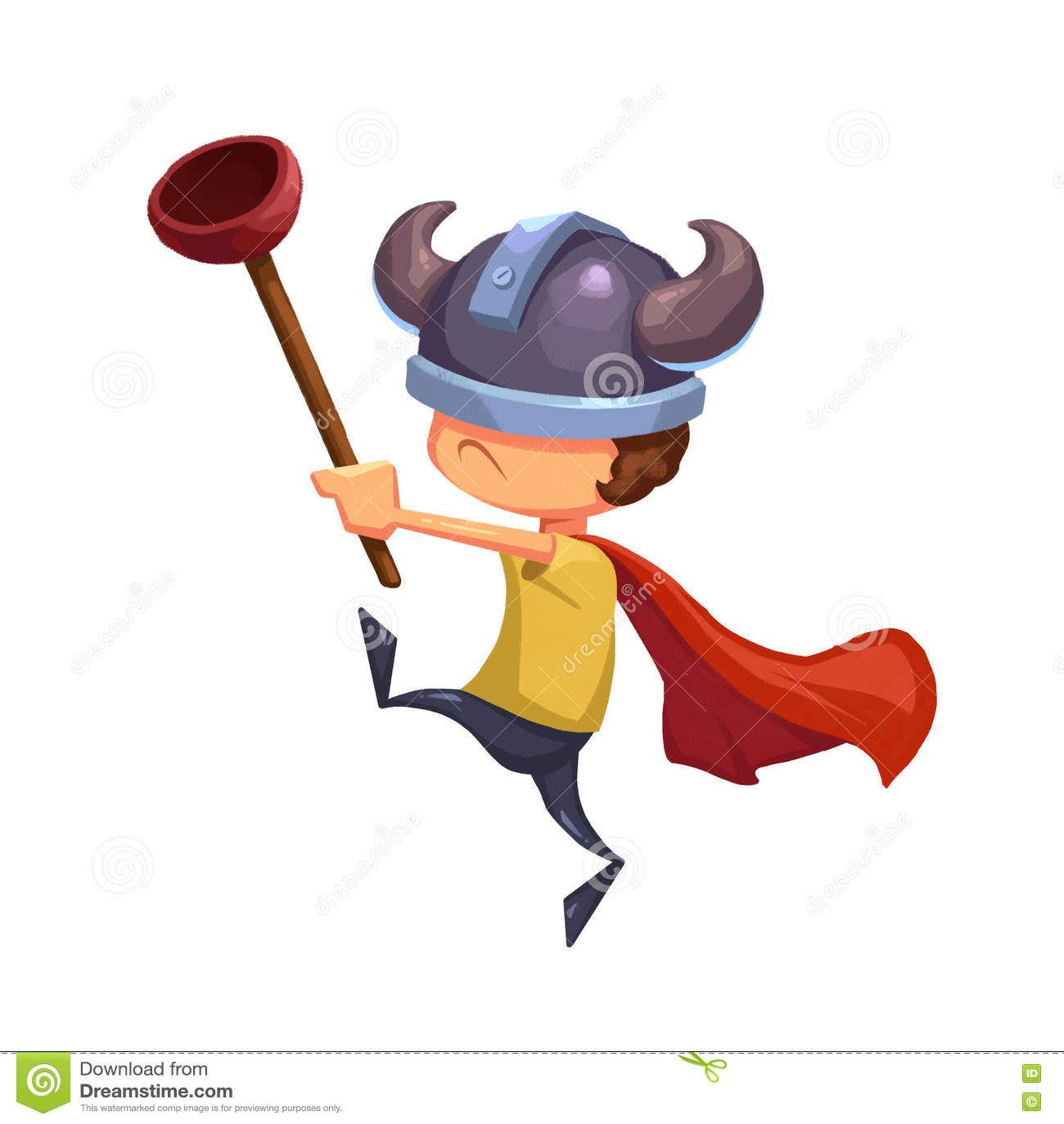 Иллюстрация для детей: Супер герой ребенк с плунжером туалета и шляпой Викинга