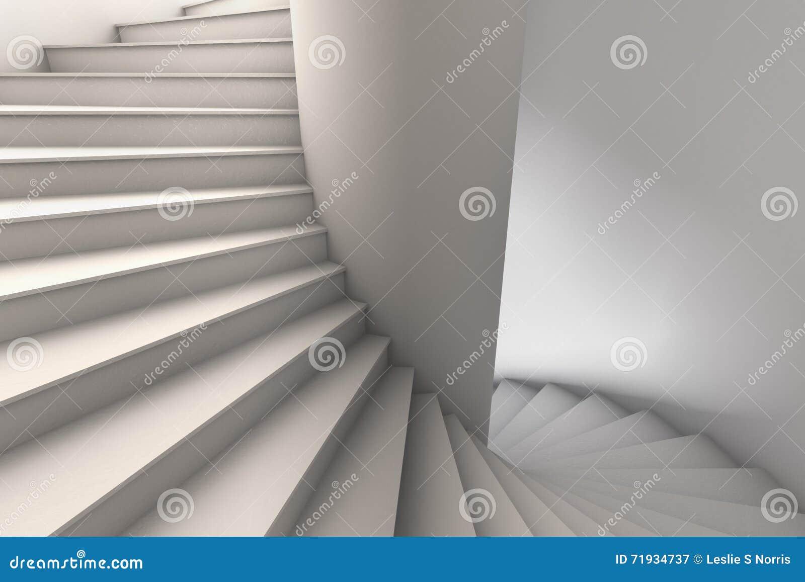иллюстрация 3D белой винтовой лестницы