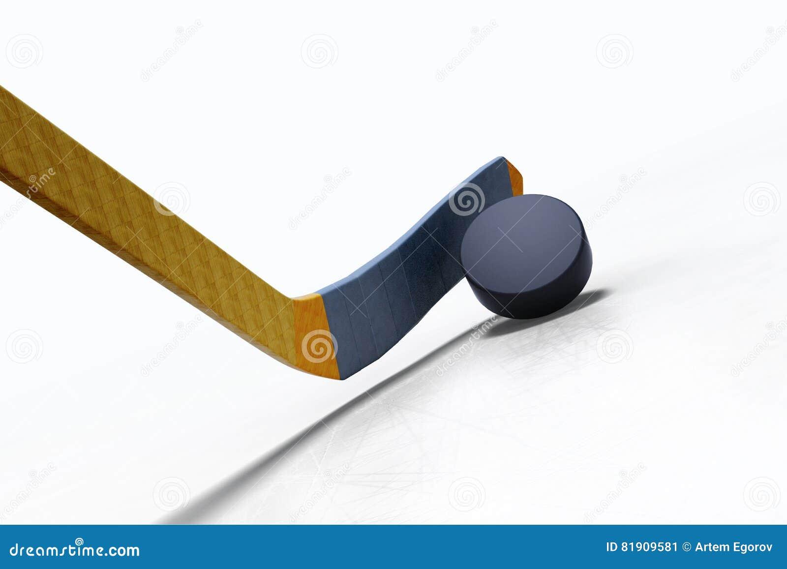 иллюстрация 3d хоккейной клюшки и плавая шайбы на льде