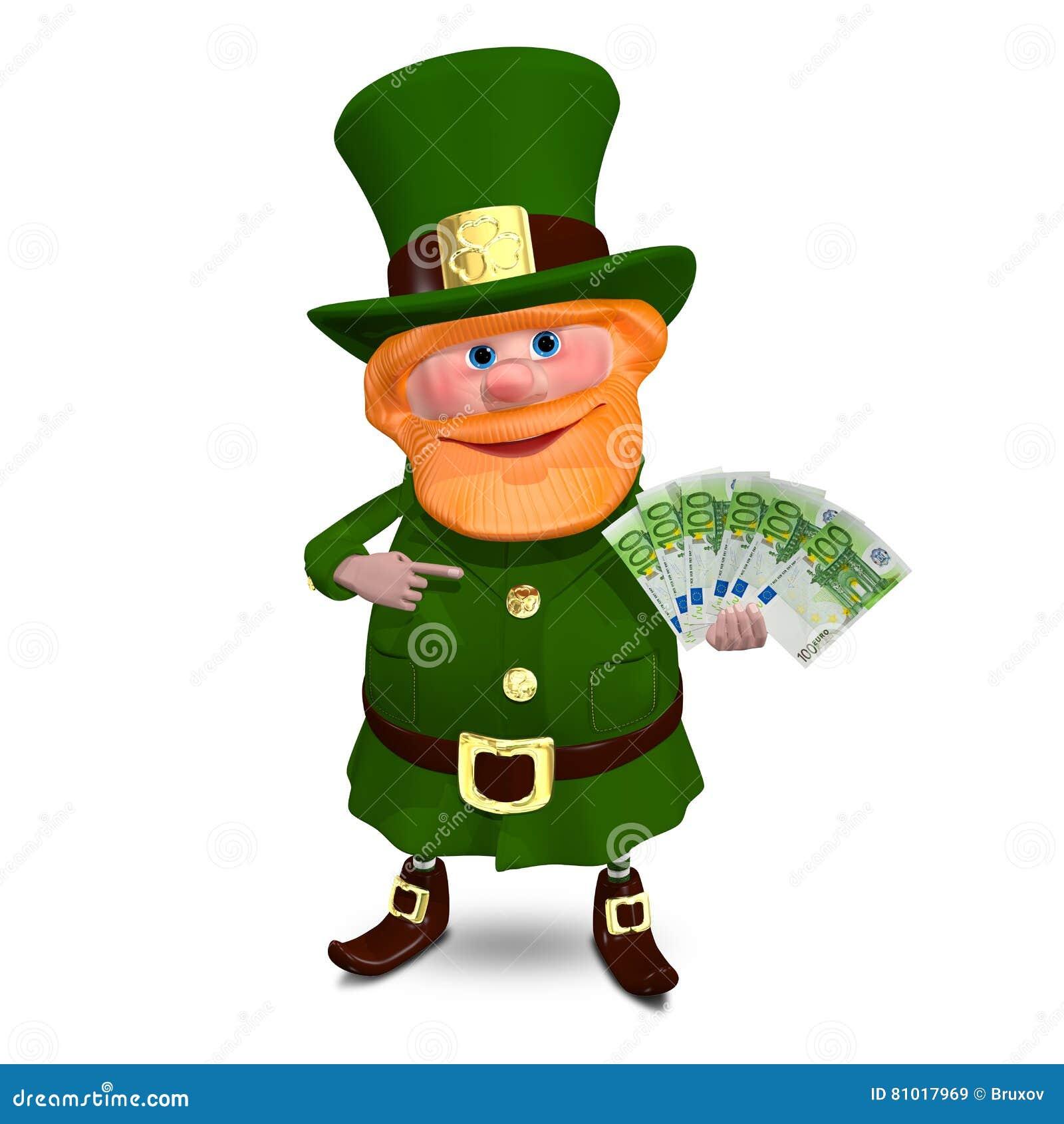 иллюстрация 3D St. Patrick с евро лавирует