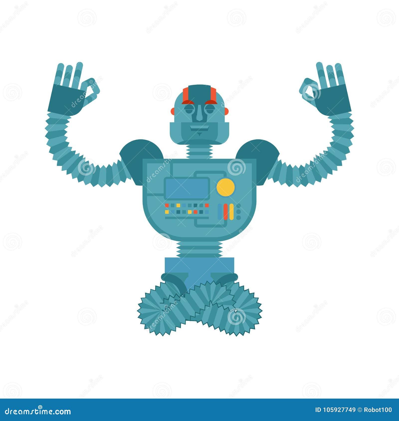 Йога робота Yogi киборга Робототехническая релаксация человека и med
