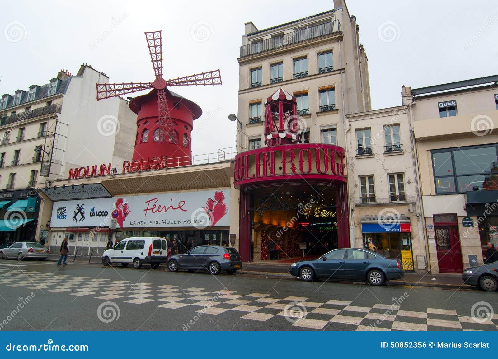 Кабаре румян Moulin в Париже, Франции