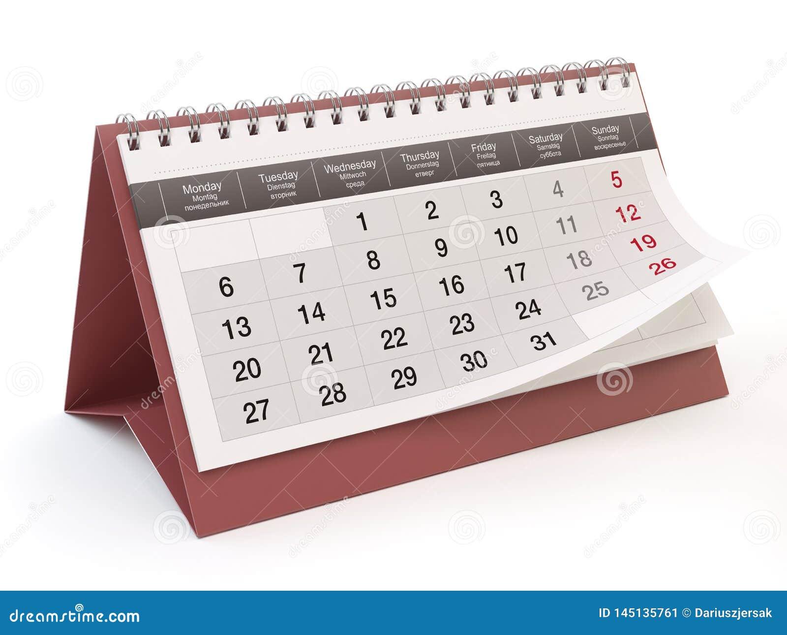 Календарь, белая предпосылка, иллюстрация 3D