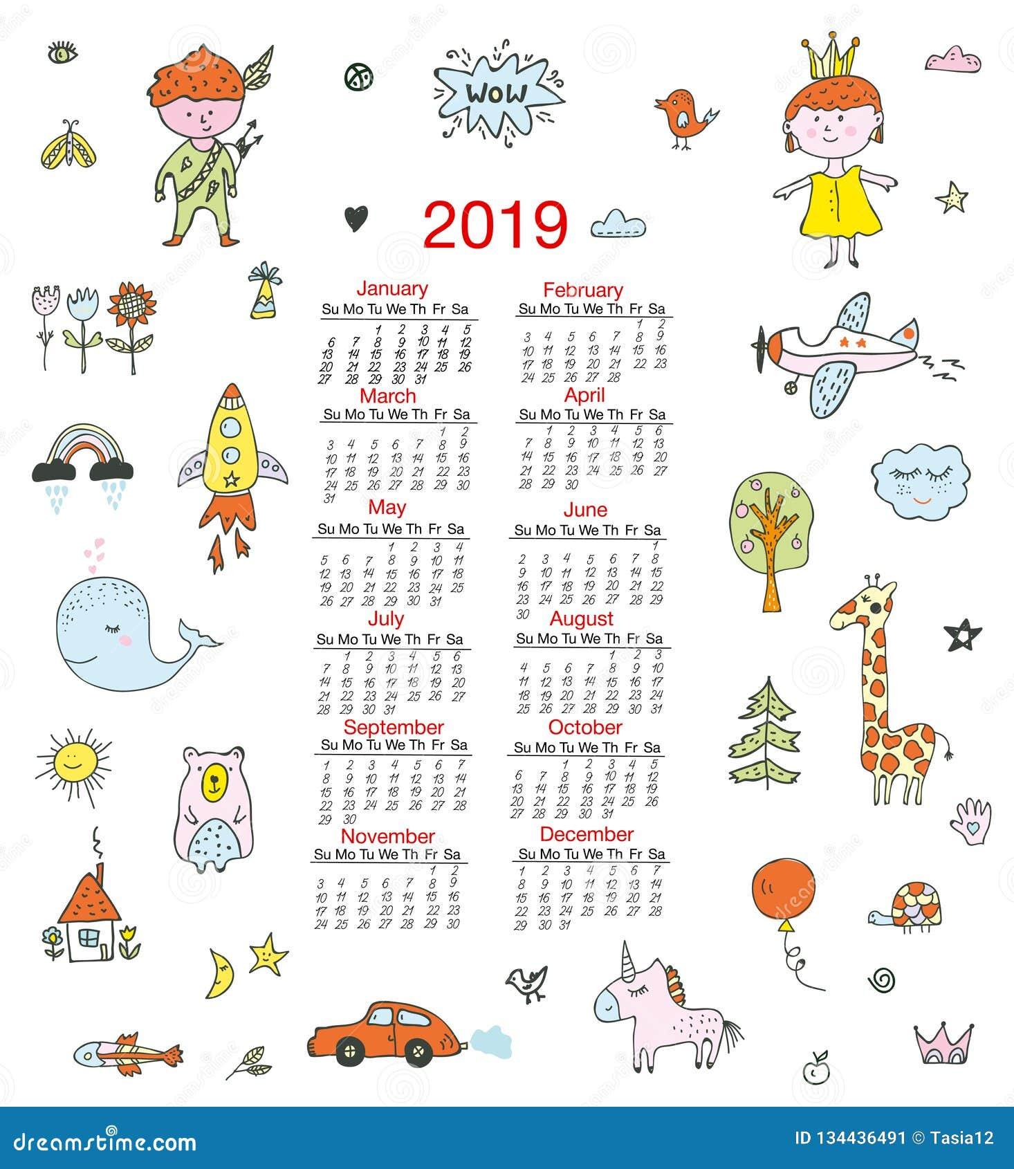 Календарь для детей со смешными doodles, детей, животных, милых элементов также вектор иллюстрации притяжки corel