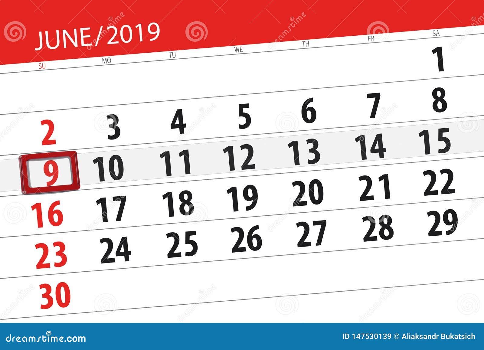 Календарь июнь 2019, 9, воскресенье
