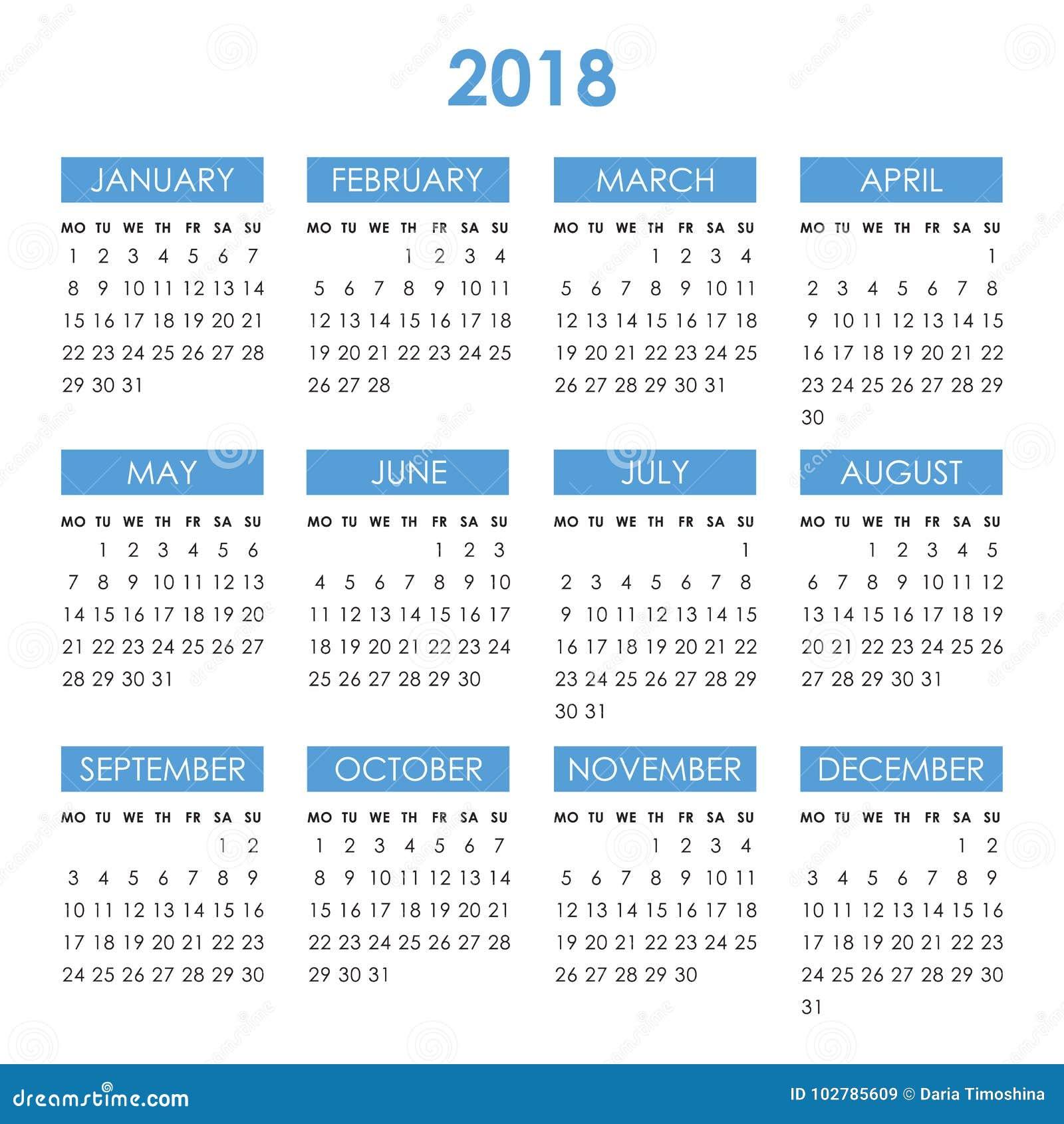 Календарь на 2018 год