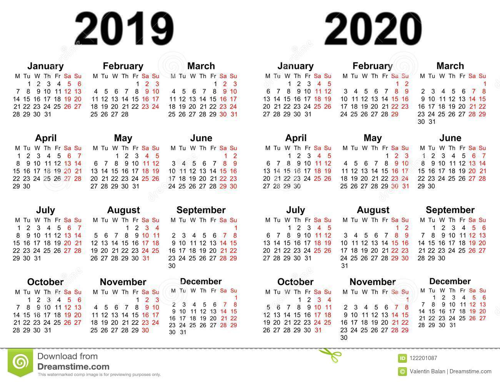 Календарь на 2019 и 2020