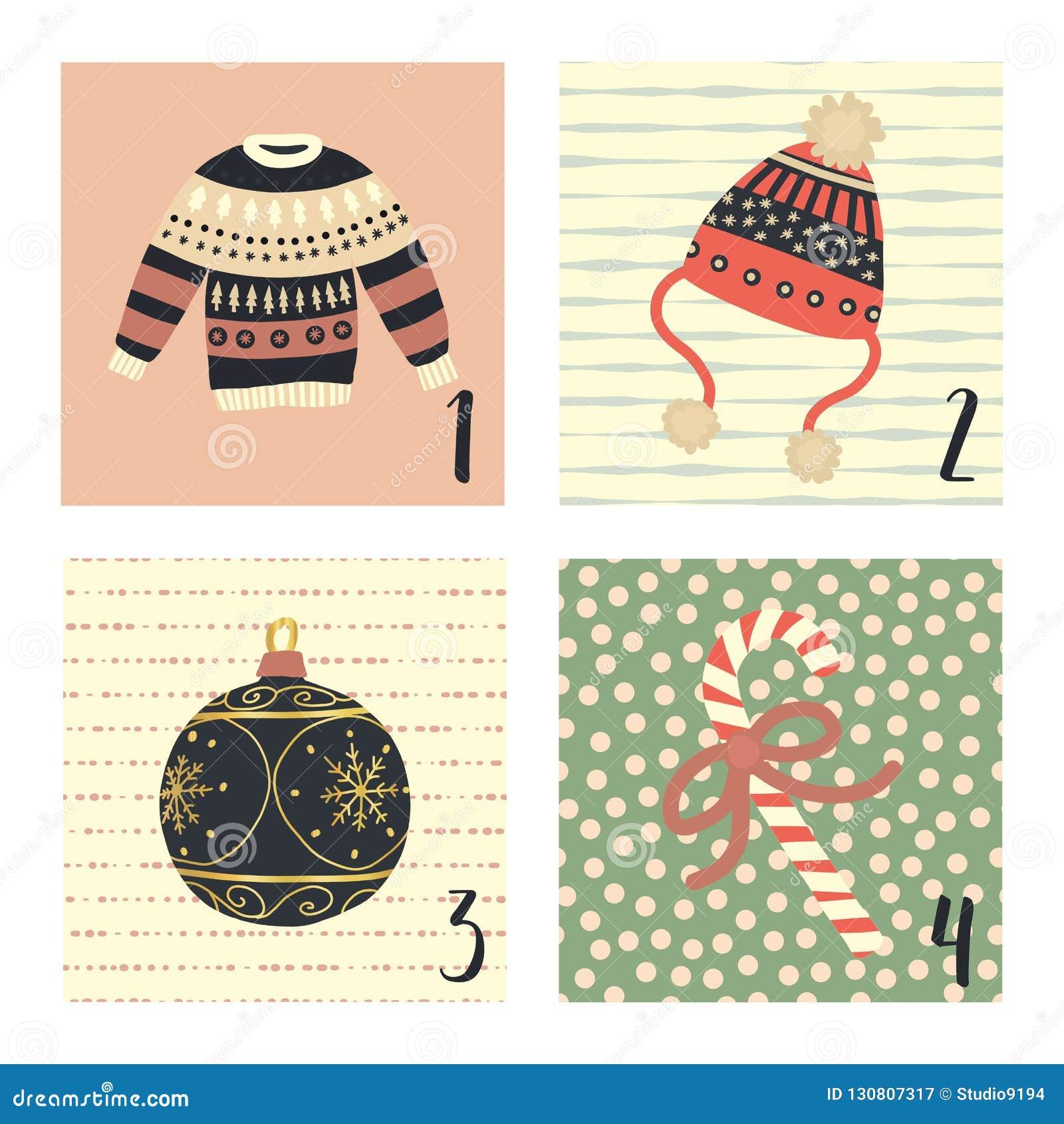 Календарь пришествия с иллюстрациями праздника рождества вектора милой руки вычерченными на 1-ое-4 декабря Некрасивый свитер рожд