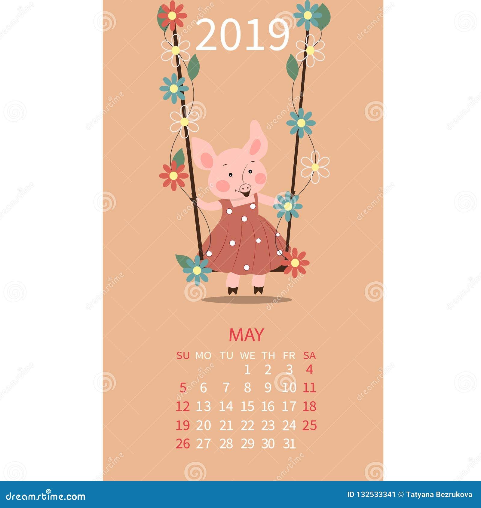 Календарь свиньи на май 2019 Милый календарь месяца с Тавром знака гороскопа, Джемини Старты недели на воскресенье также вектор и