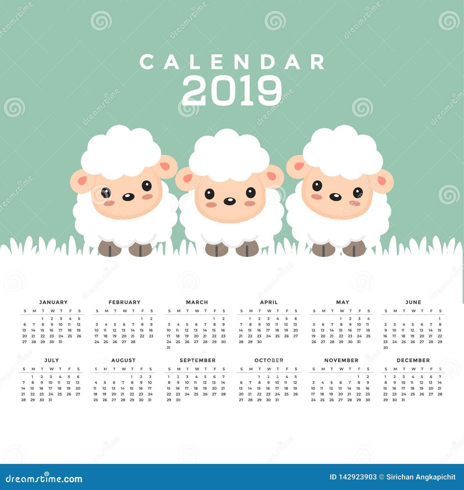 Календарь 2019 с милым мультфильмом овец