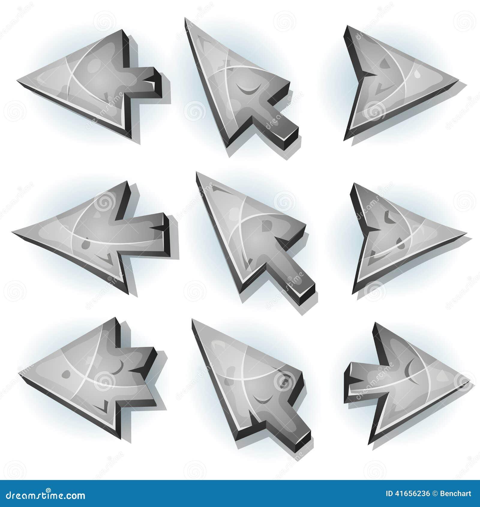 Каменные значки, курсор и стрелки