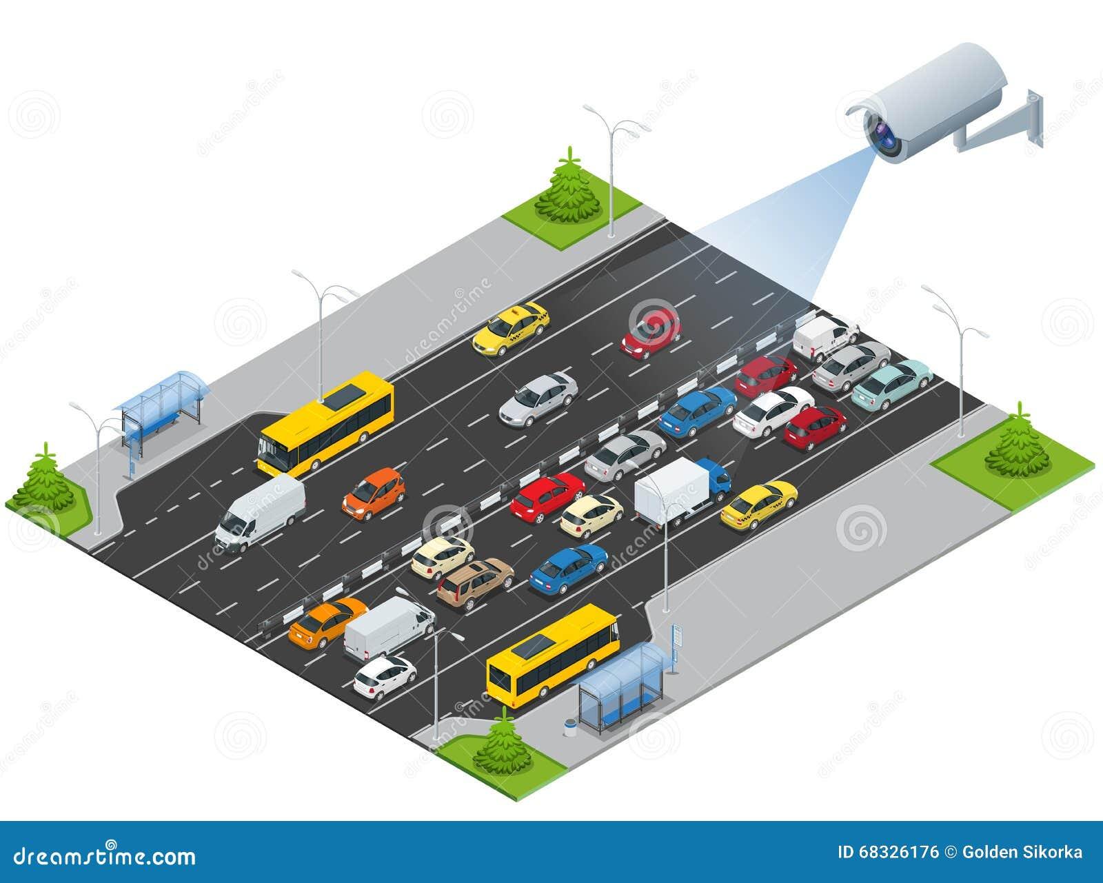 Камера слежения обнаруживает движение движения Камера слежения CCTV на равновеликой иллюстрации затора движения с спешкой