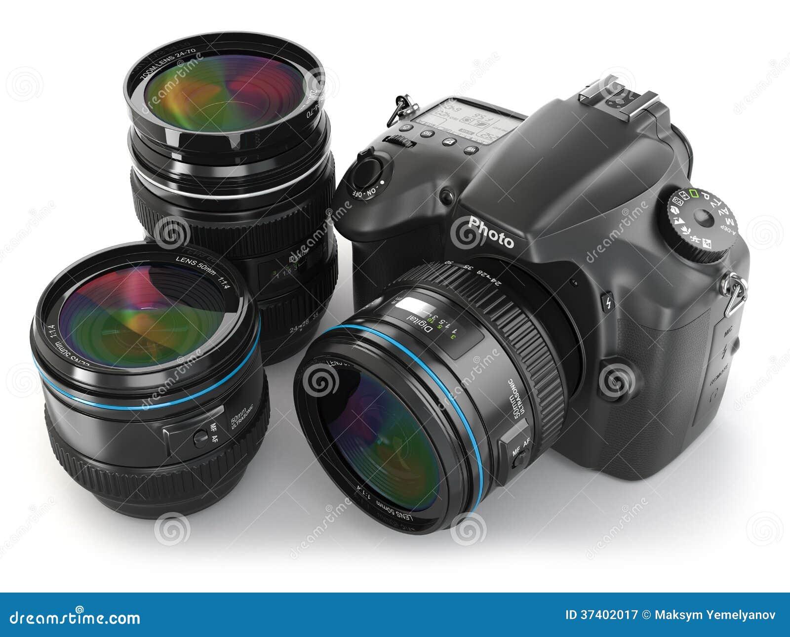 Камера slr цифров с объективом. Оборудование фотографии.