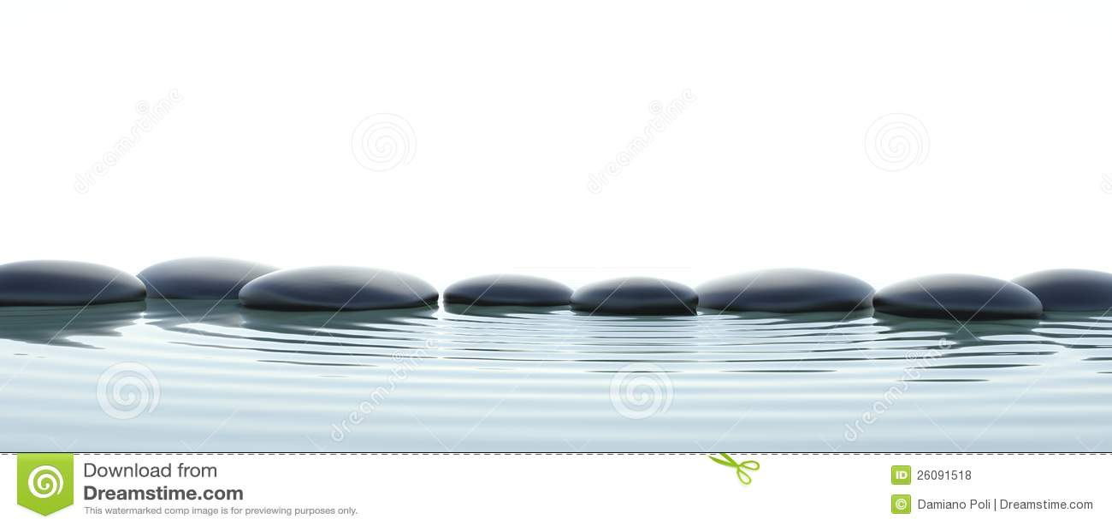 Камни Дзэн в воде на широкоэкранном