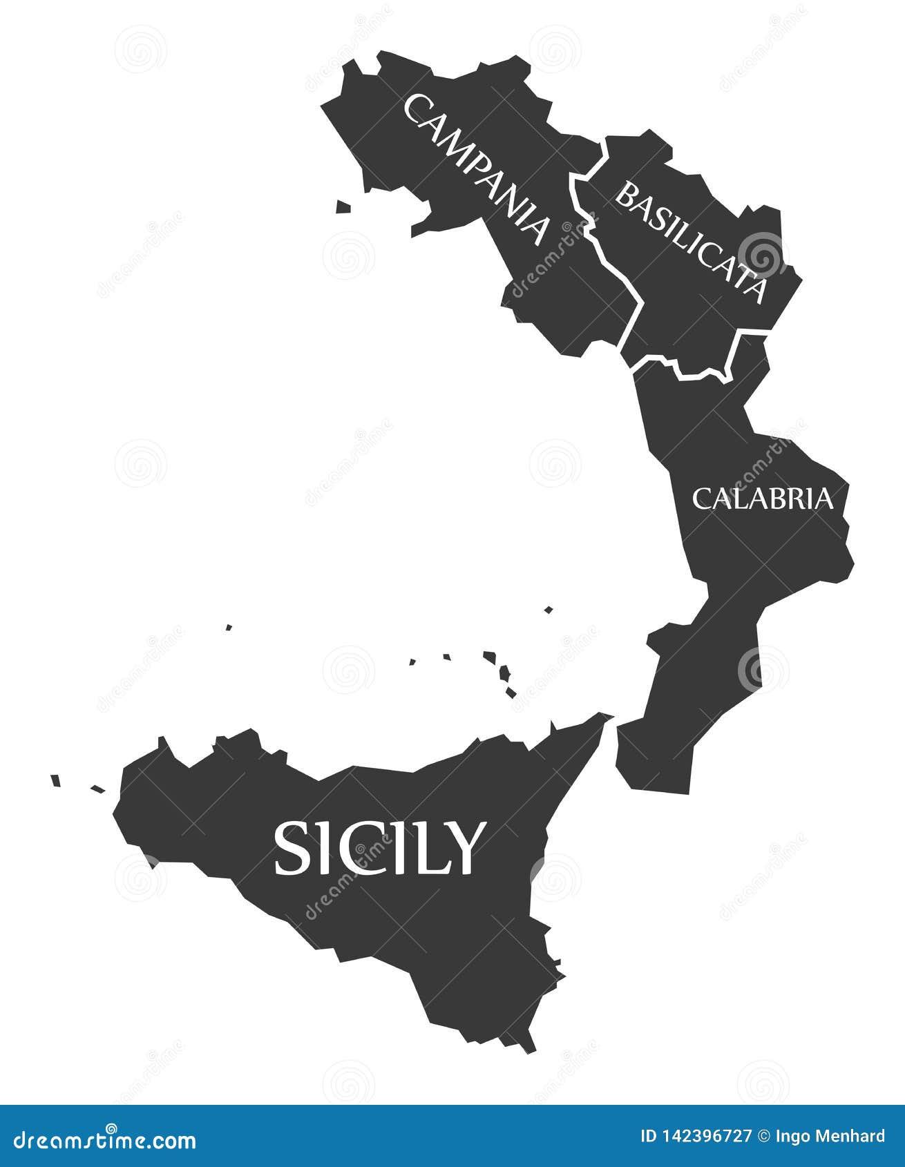 Kampaniya Karta Italiya Oblasti Bazilikaty Kalabrii Sicilii