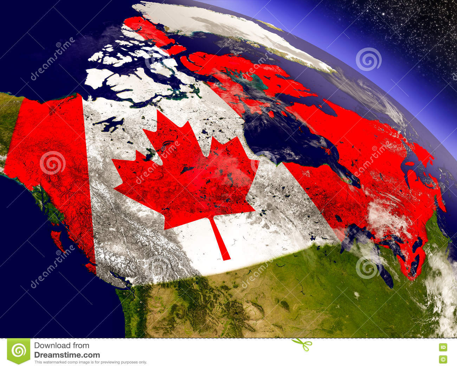Канада с врезанным флагом на земле