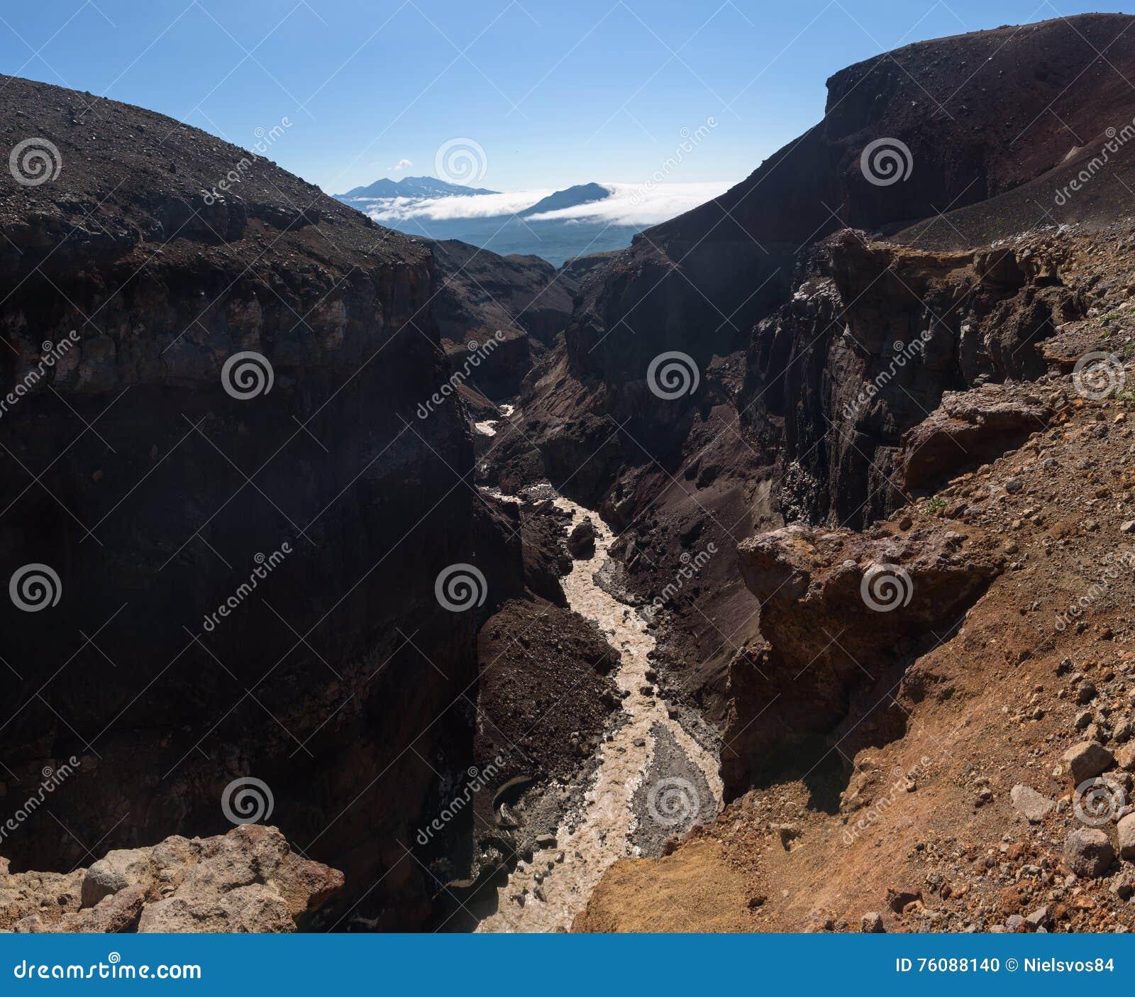 Каньон Opasny на наклонах вулкана Mutnovsky
