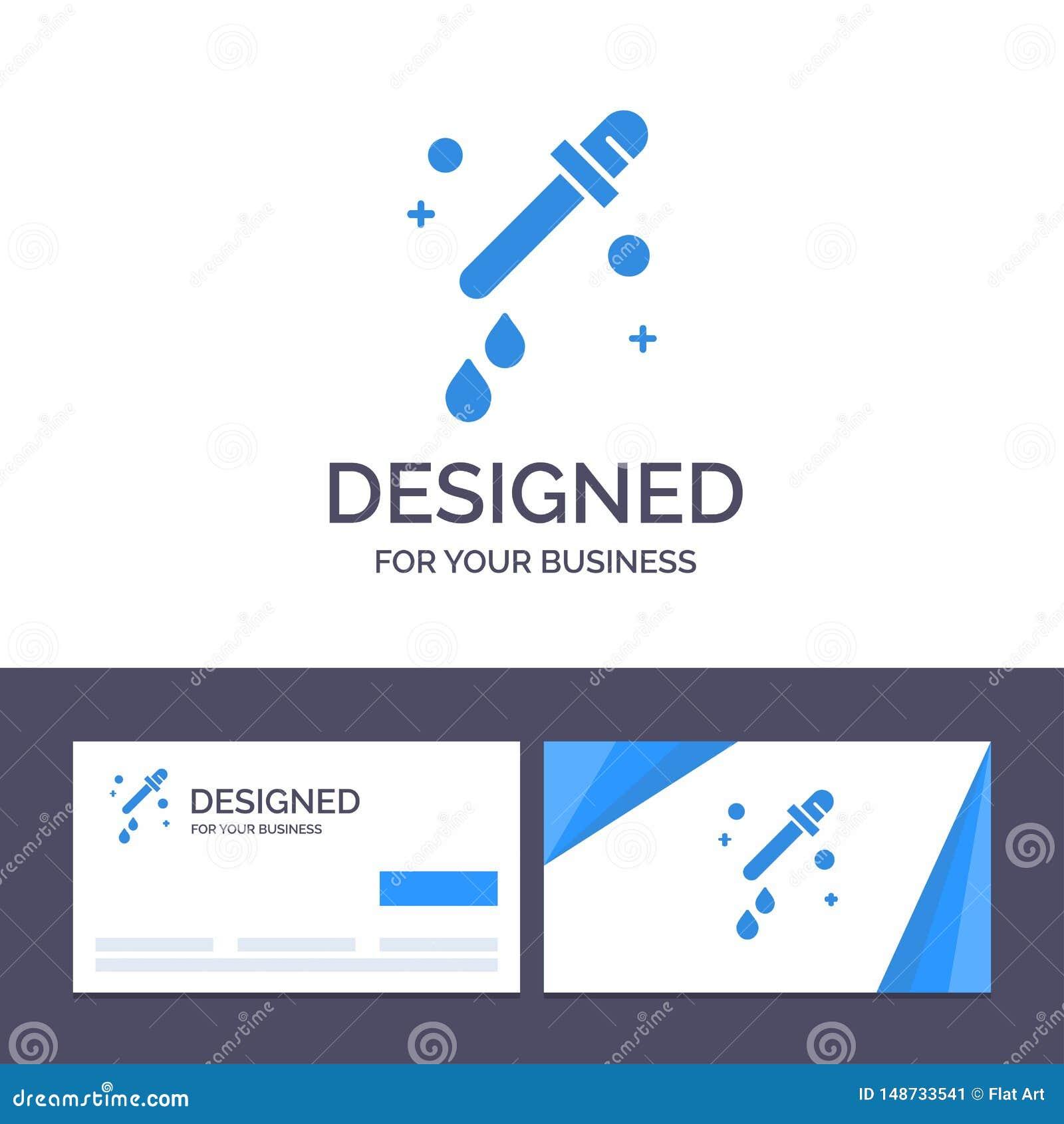 Капельница творческого шаблона визитной карточки и логотипа, пипетка, иллюстрация вектора науки