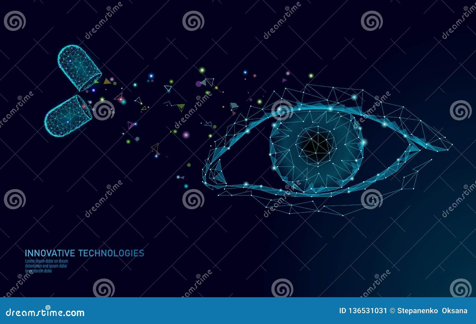 Капсула зрения витамина пищевой добавки Технология нововведения химии науки медицины лекарства здравоохранения глаза ясная