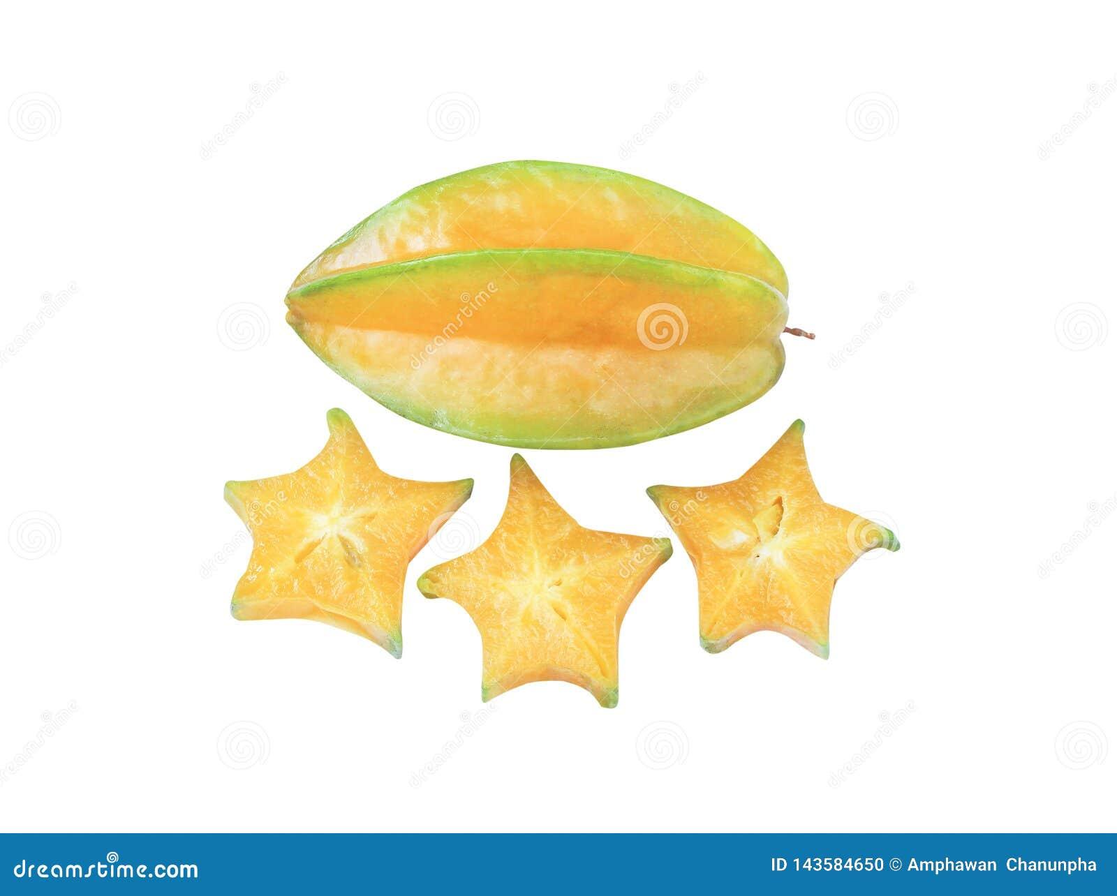 Карамбола плода звезды взгляда сверху вкусная или карамбола averrhoa изолированная на белой предпосылке