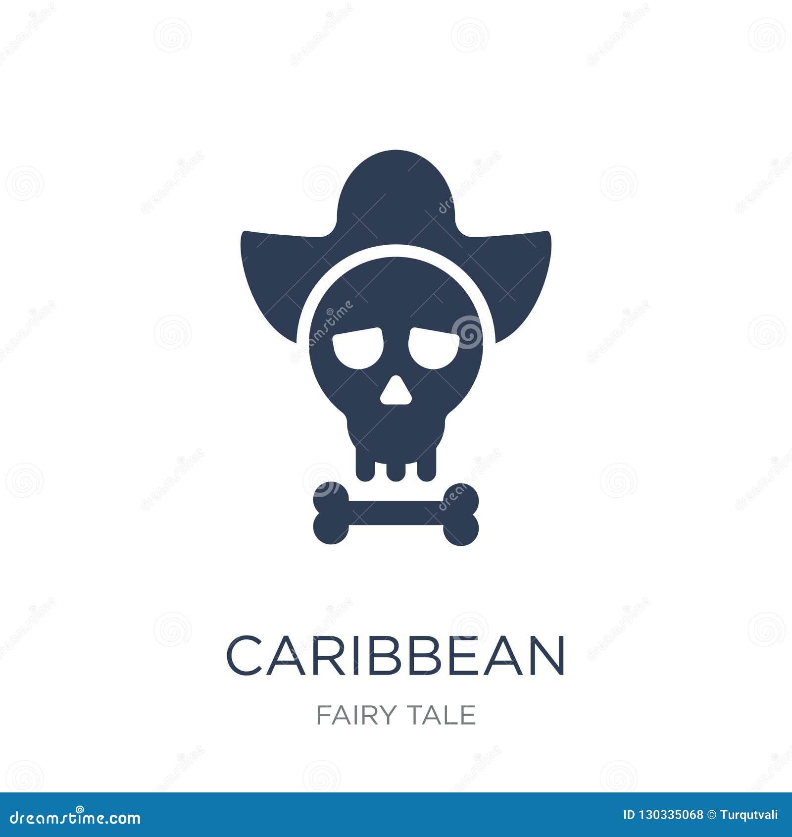 Карибский значок Значок ультрамодного плоского вектора карибский на белом backg