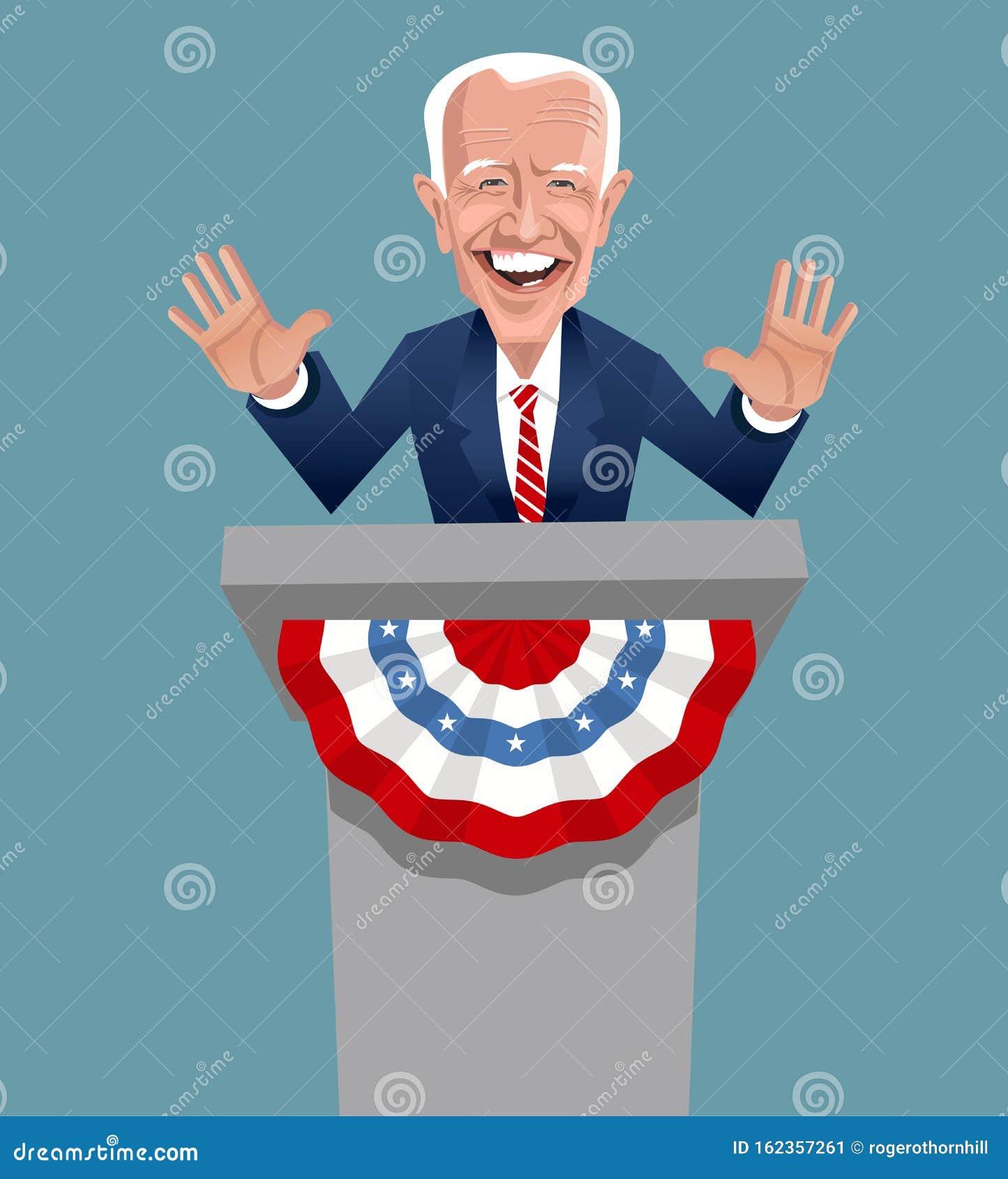 Карикатура Джо Байдена, кандидата от демократической партии на президентских выборах в США в 2020 году Редакционное Фото - иллюстрации насчитывающей джо, году: 162357261
