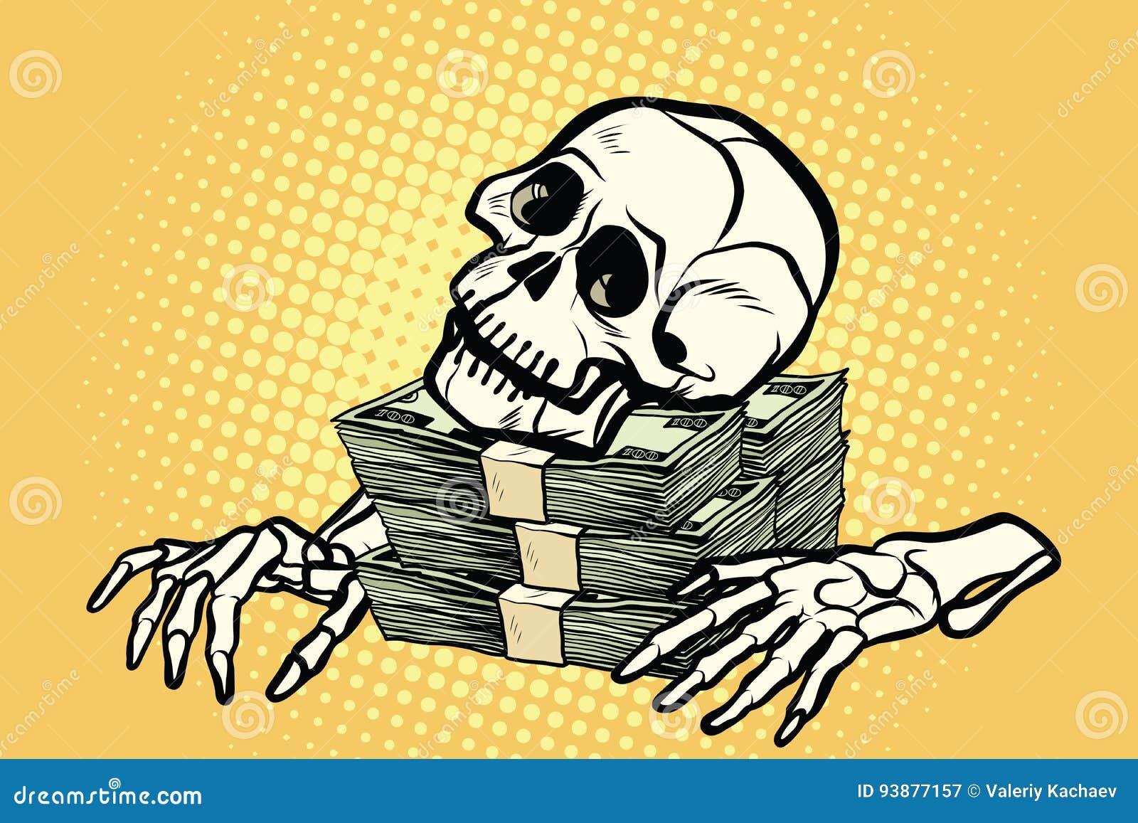 Каркасные деньги, богатство и жадность доллара черепа