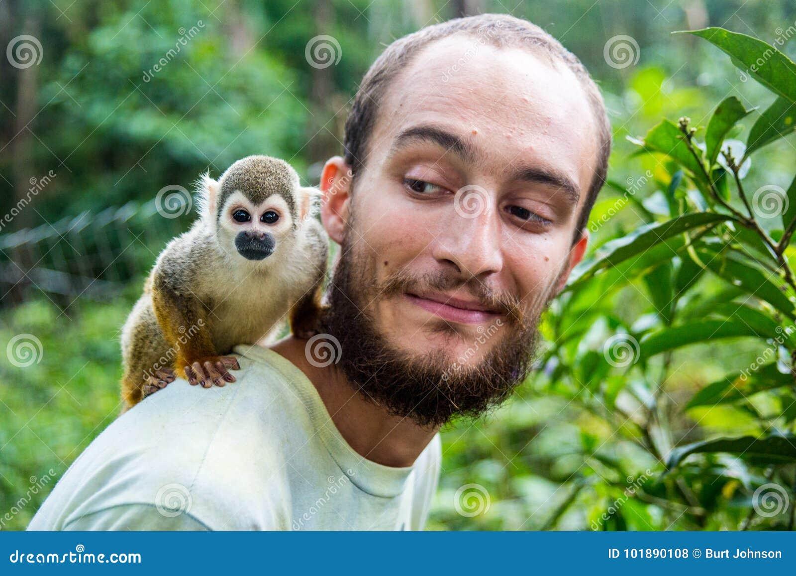 Карманная обезьяна пальца обезьяны aka подпрыгивает на задней части ` s человека