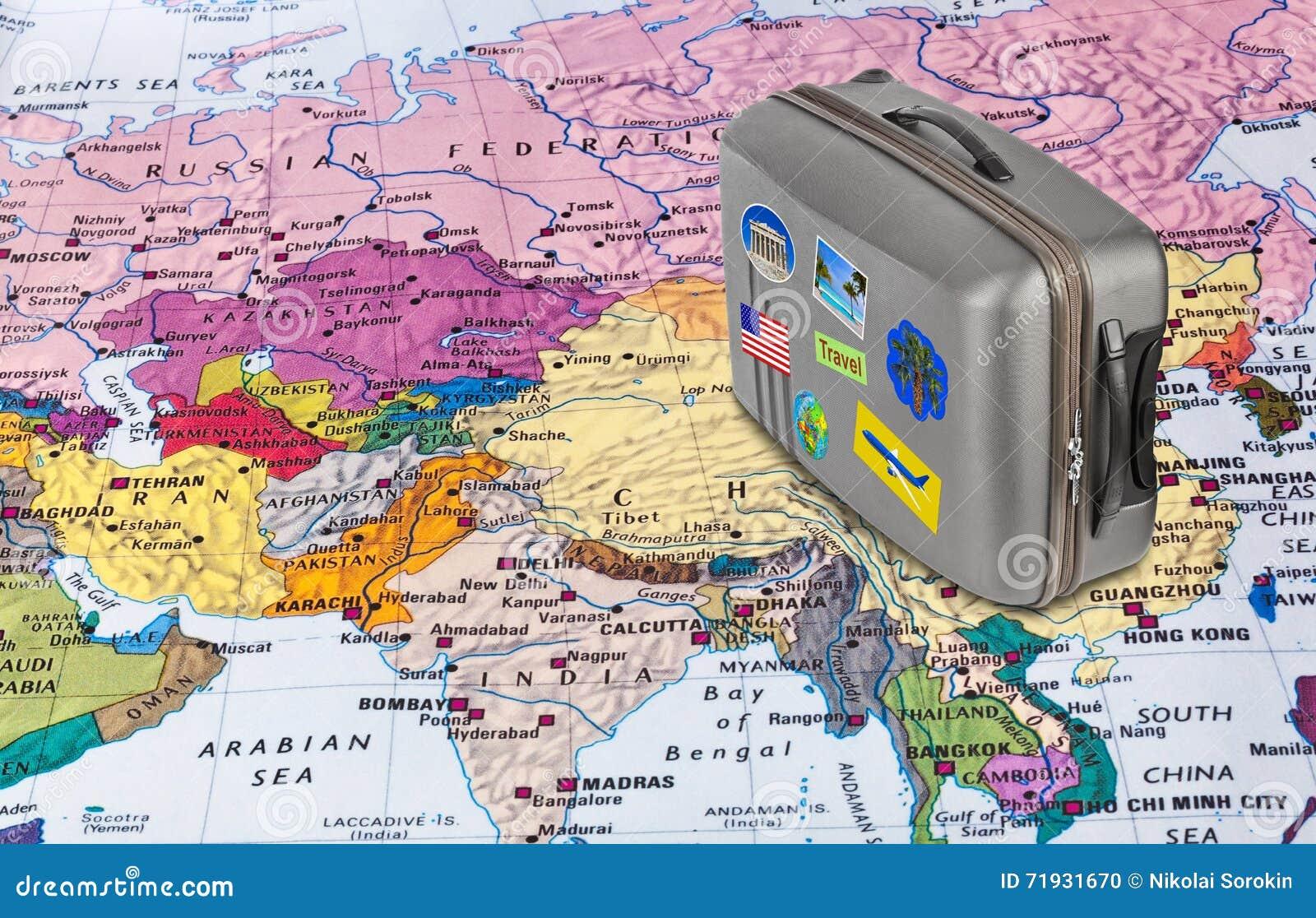 Карта Азии и случай перемещения с стикерами (мои фото)