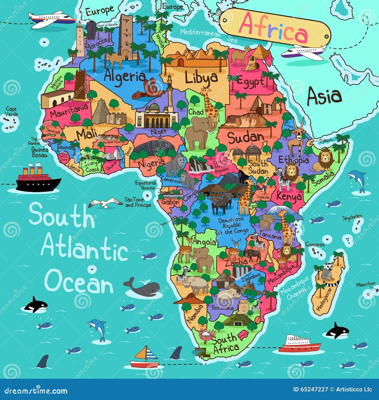 карта Африки континентальная политическая