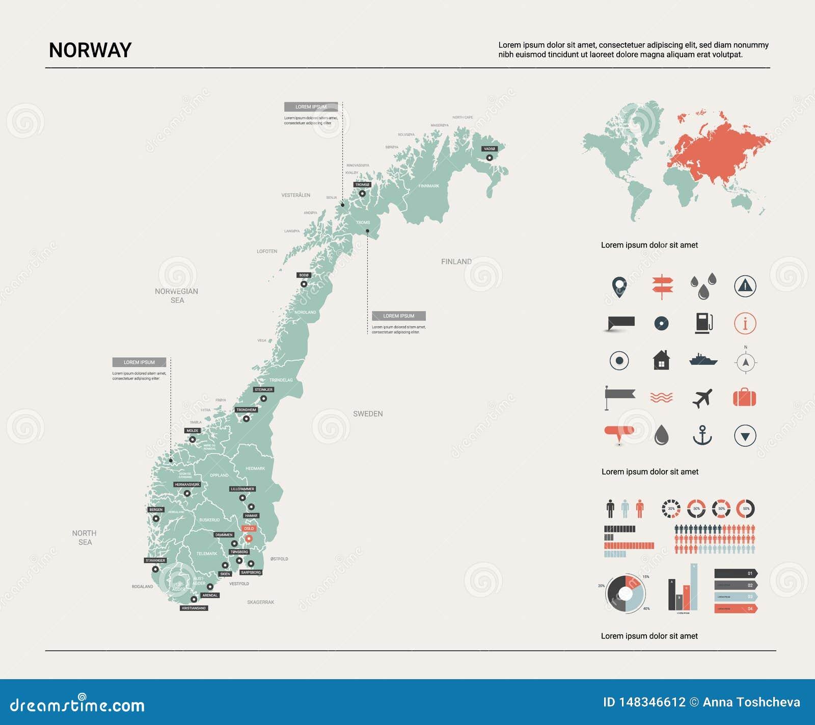 Карта вектора Норвегии