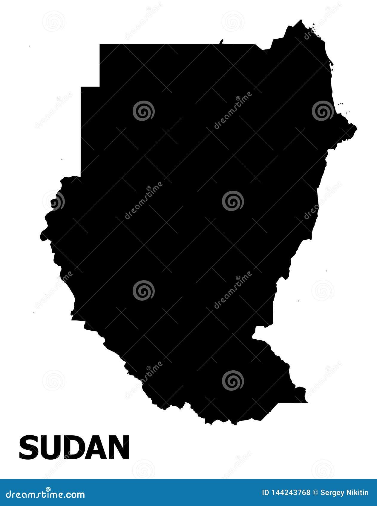 Карта вектора плоская Судана с именем