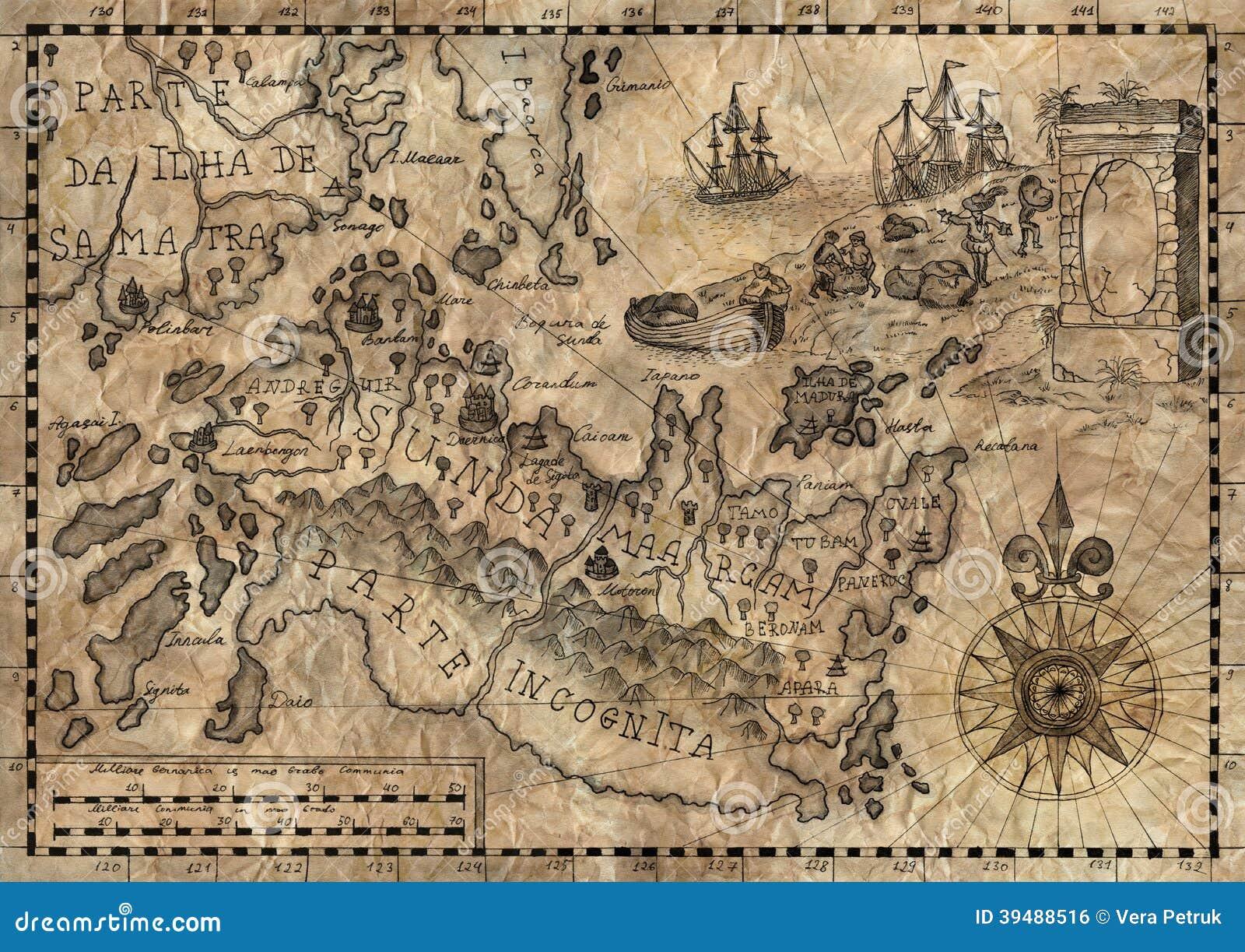Пиратская карта арт (открытки) beesona.ru.