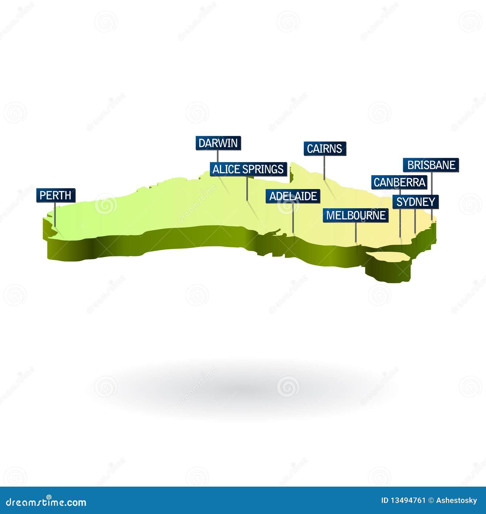 карта городов 3d Австралии