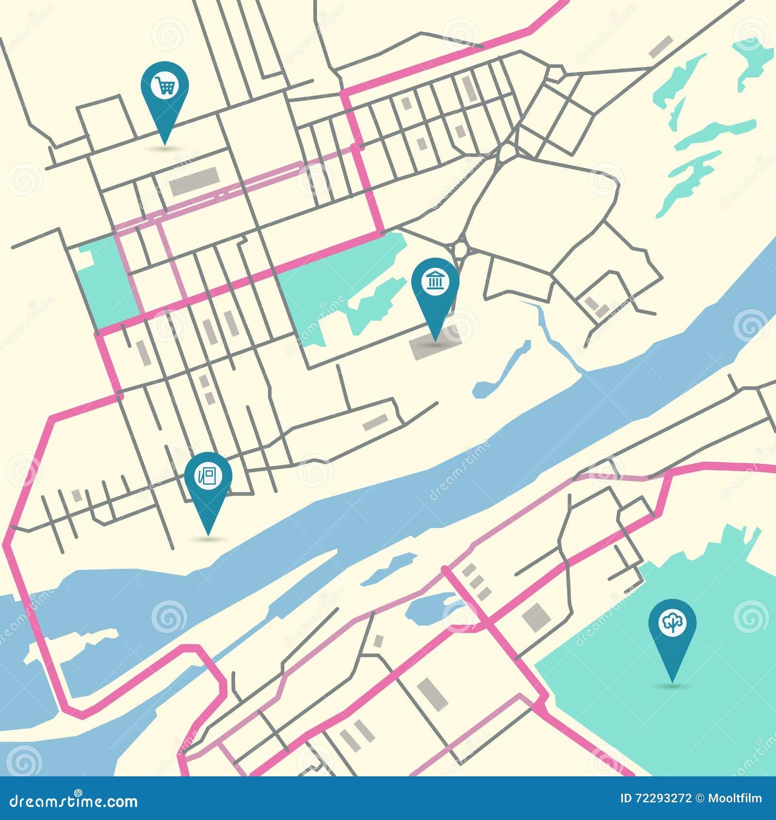 Download Карта города вектора иллюстрация вектора. иллюстрации насчитывающей план - 72293272