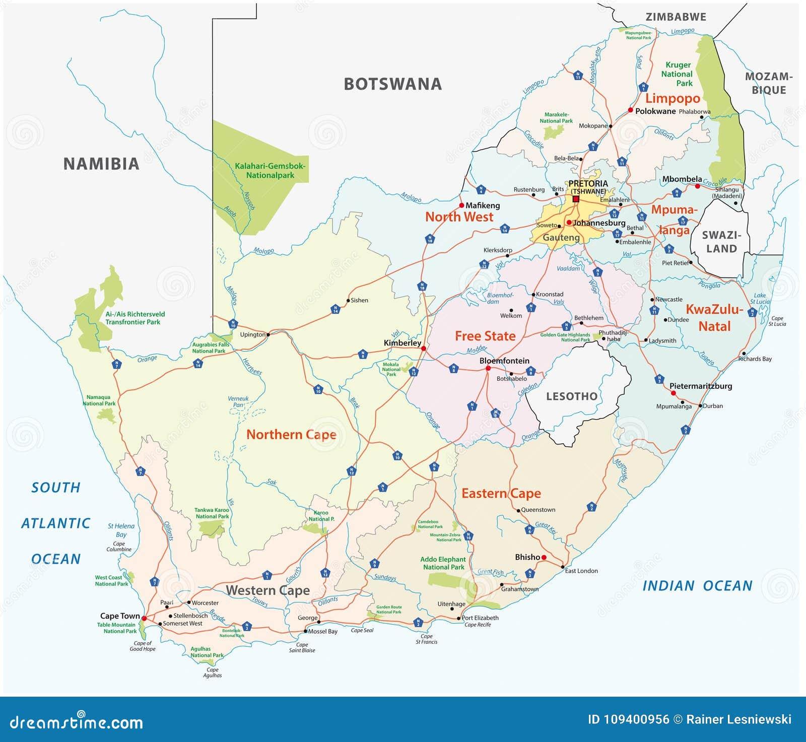 Карта дороги Южной Африки, административных и политических вектора