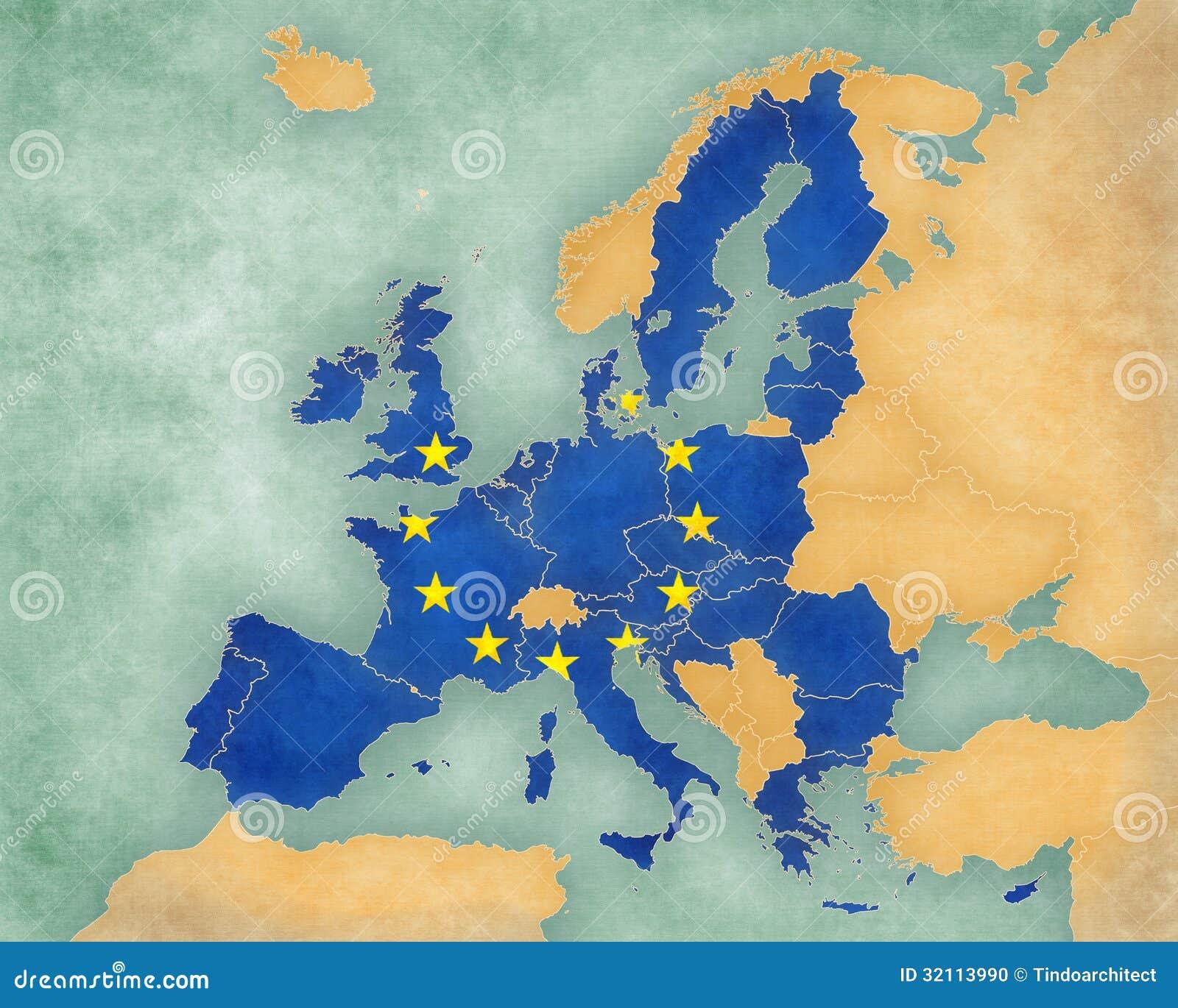 Karta Evropy Evropejskogo Soyuza 2013 Stil Leta Illyustraciya